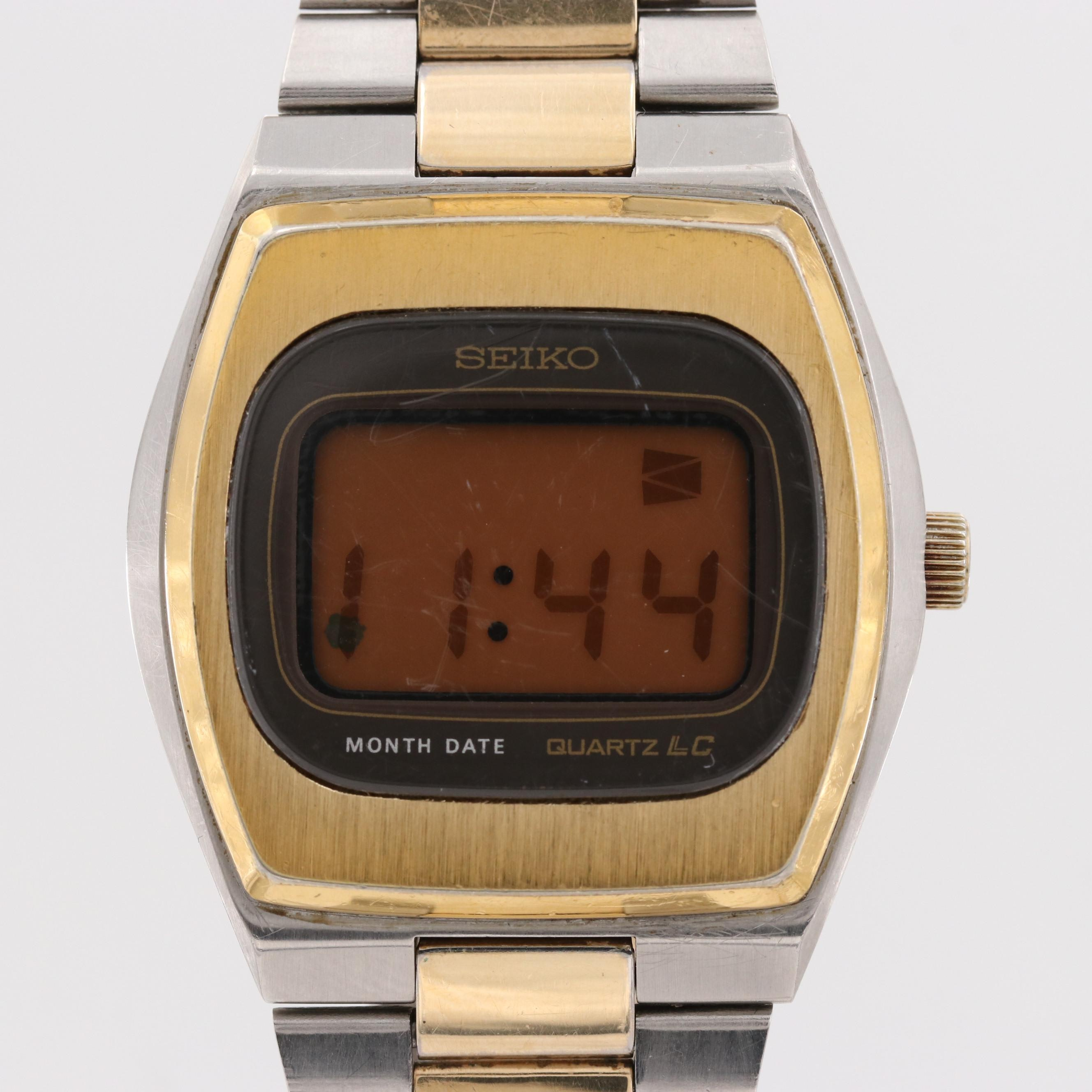 Vintage Seiko 0532-5009 Two Tone Digital Quartz Wristwatch