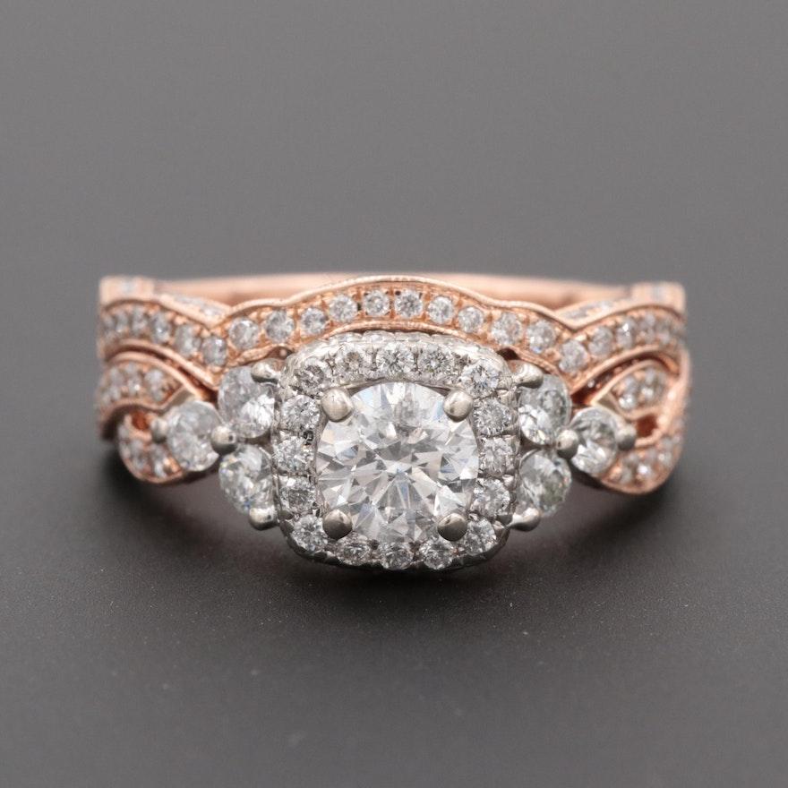 234d01978700f Niel Lane 14K Rose Gold 1.57 CTW Diamond Ring Set