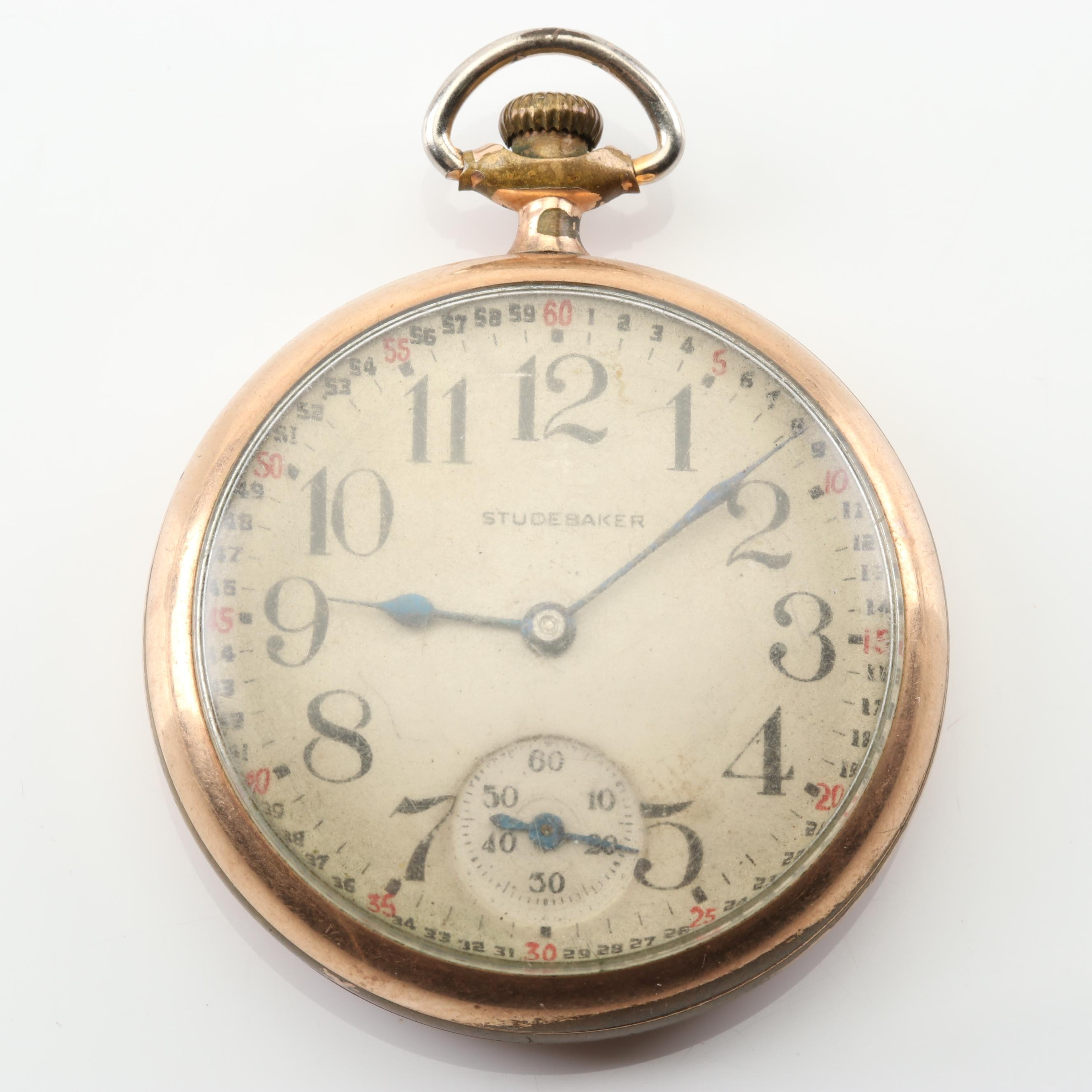 Studebaker Gold Tone Open Face Pocket Watch