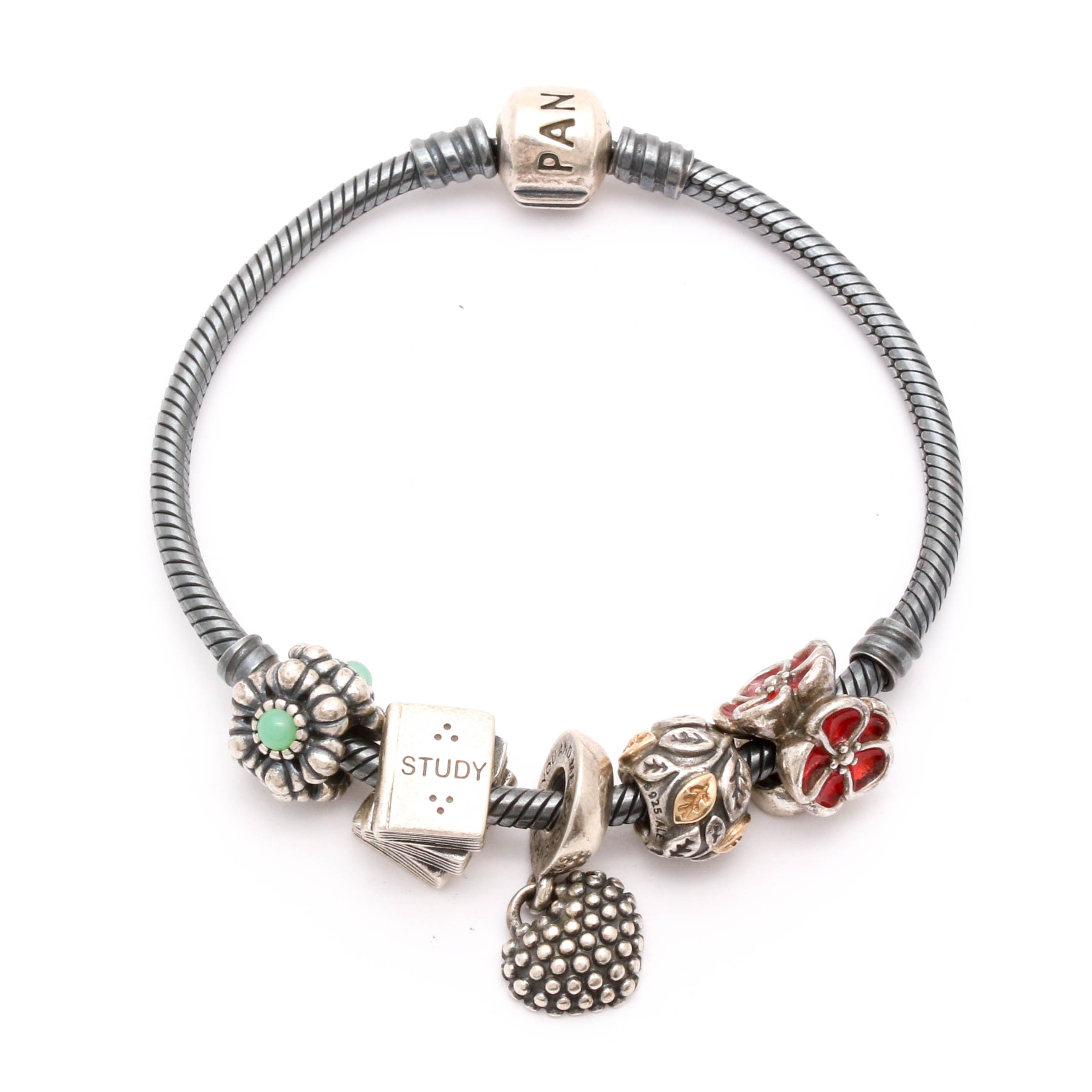 Pandora Bracelet with Sterling Silver Charms