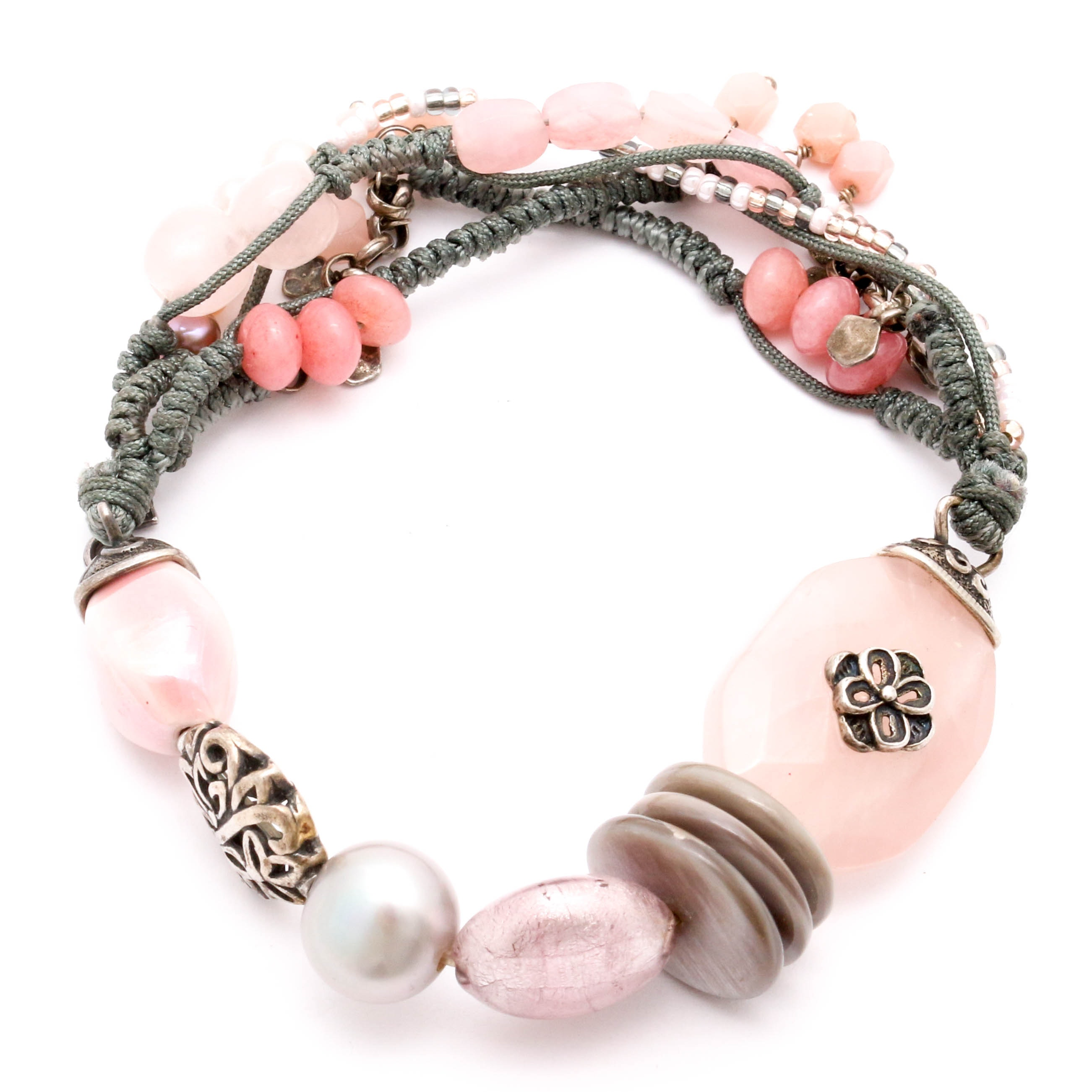 Silpada Sterling Silver Bracelet with Pearl, Rose Quartz, and More