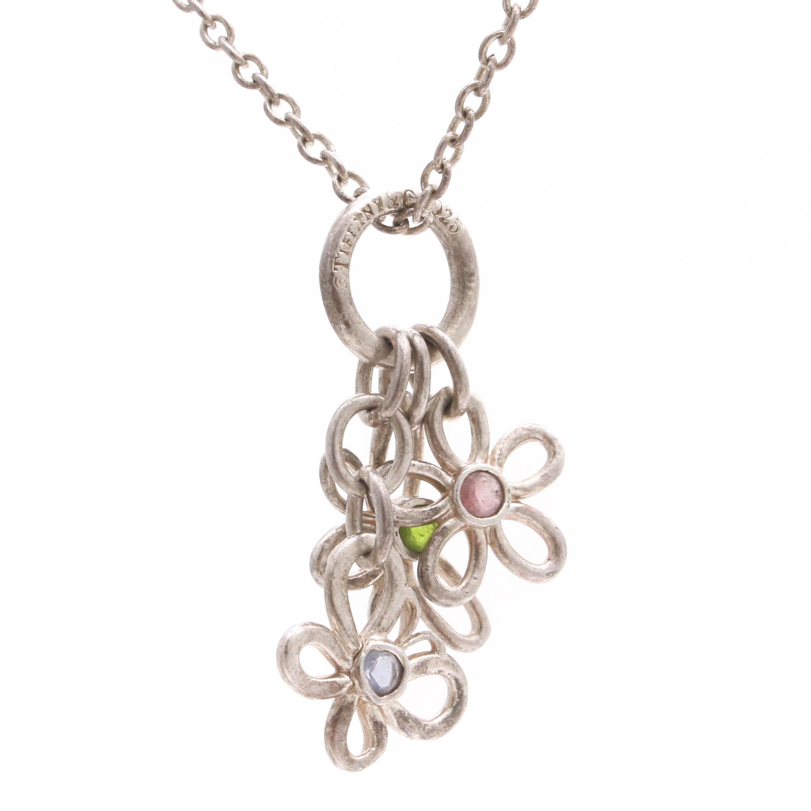 Tiffany & Co. Sterling Silver Garnet, Peridot, and Tanzanite Necklace