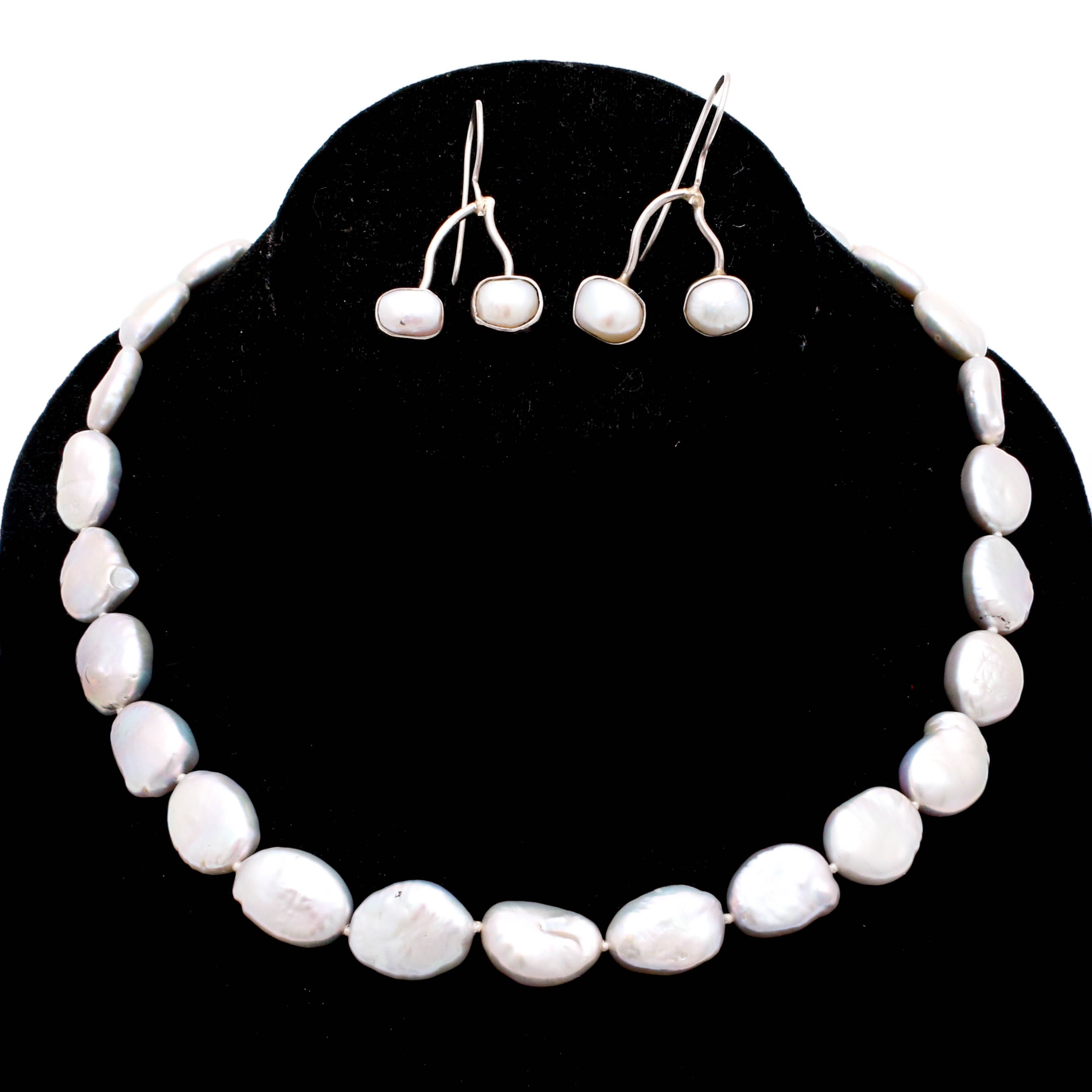 Suj Designs Sterling Silver Freshwater Pearl Necklace and Earrings