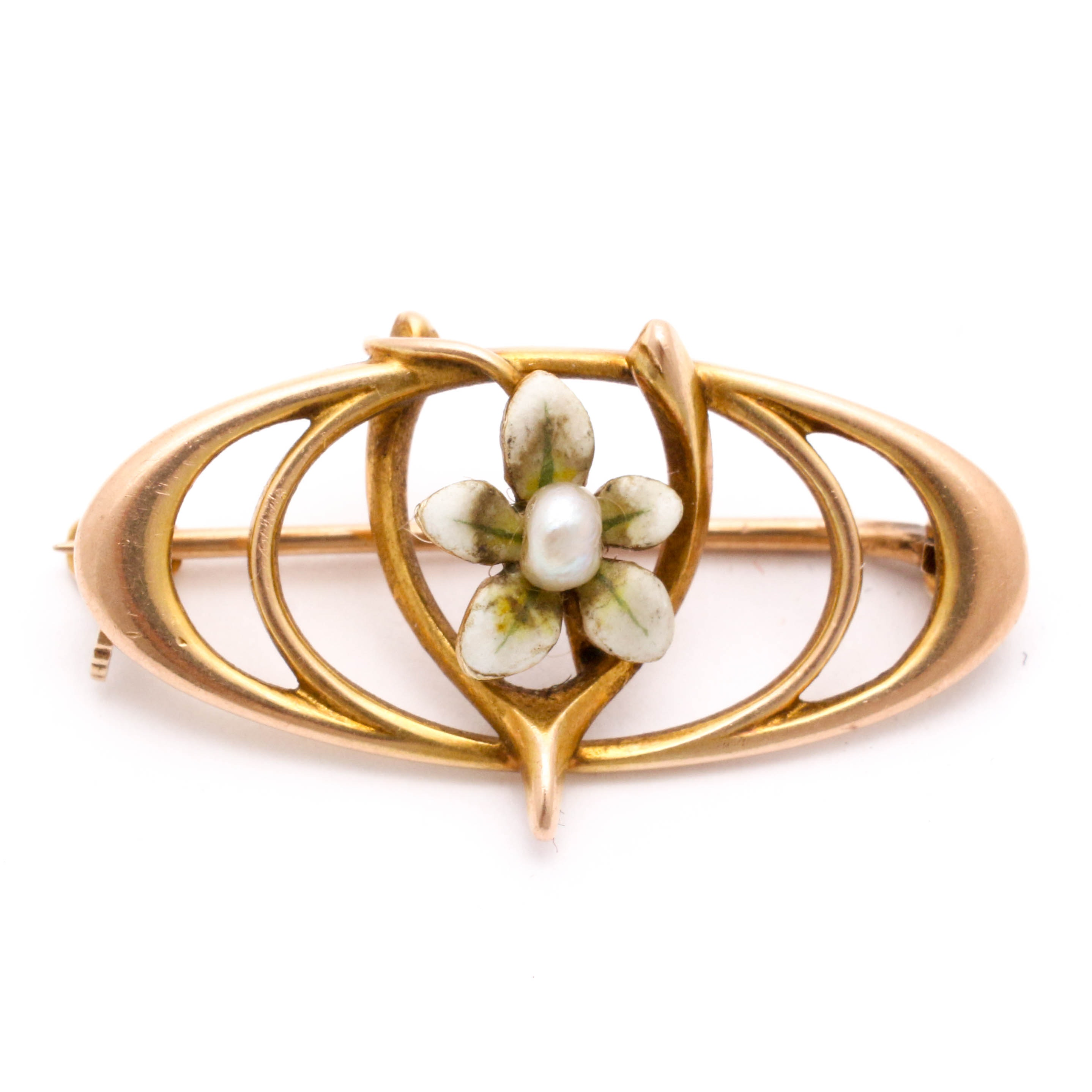 10K Yellow Gold Seed Pearl Enameled Flower and Wishbone Motif Brooch, Antique