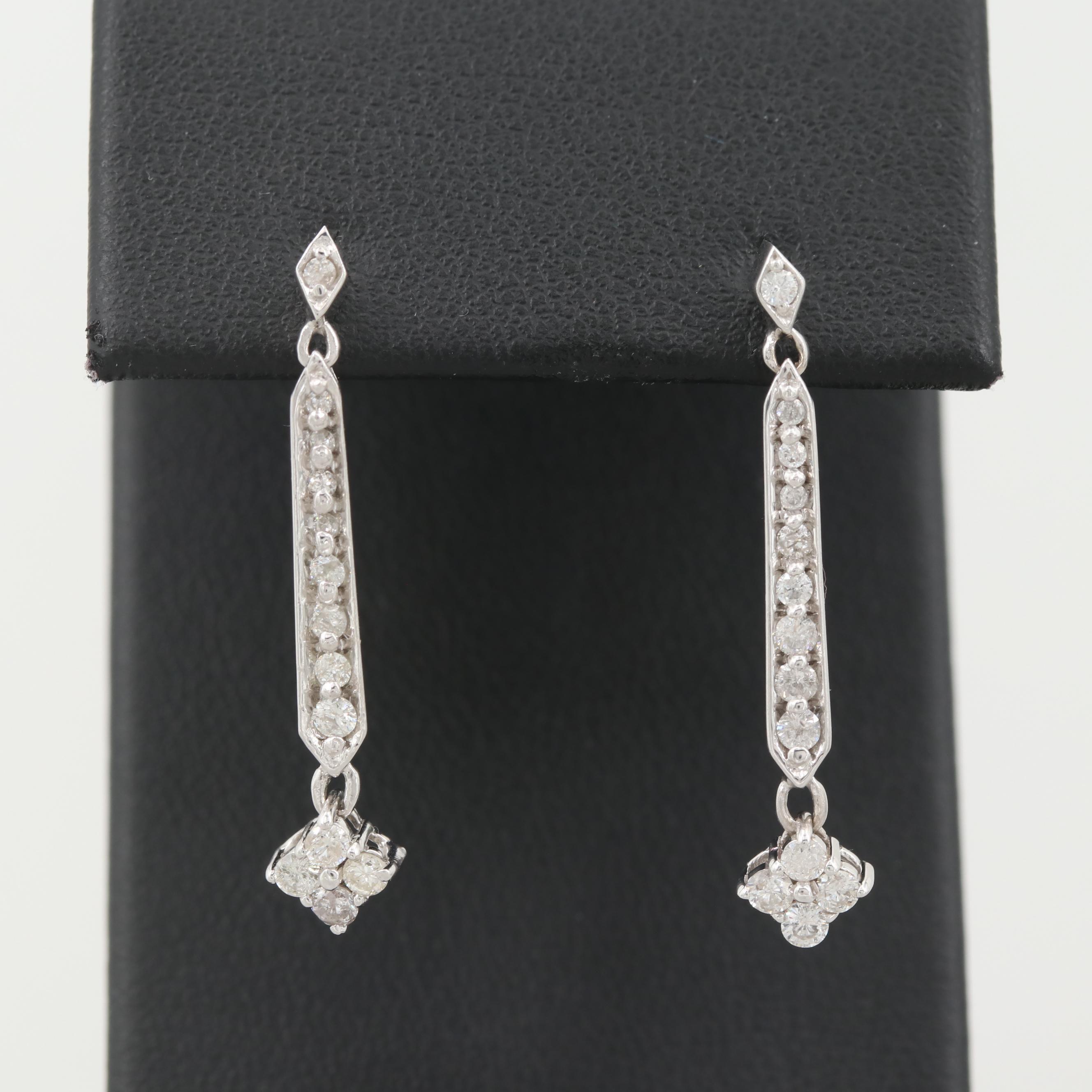 10K White Gold Diamond Dangle Earrings
