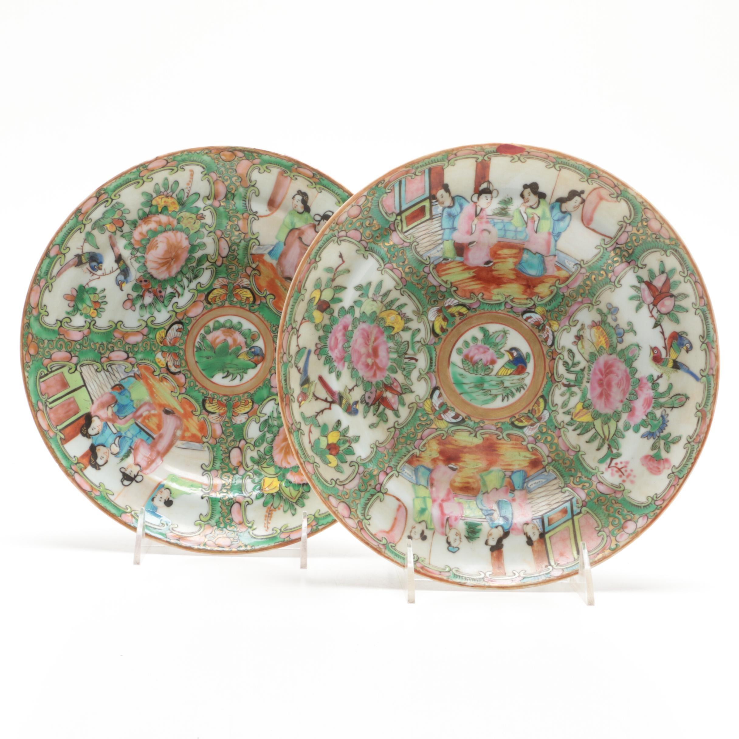 "Chinese ""Rose Medallion"" Porcelain Plates"