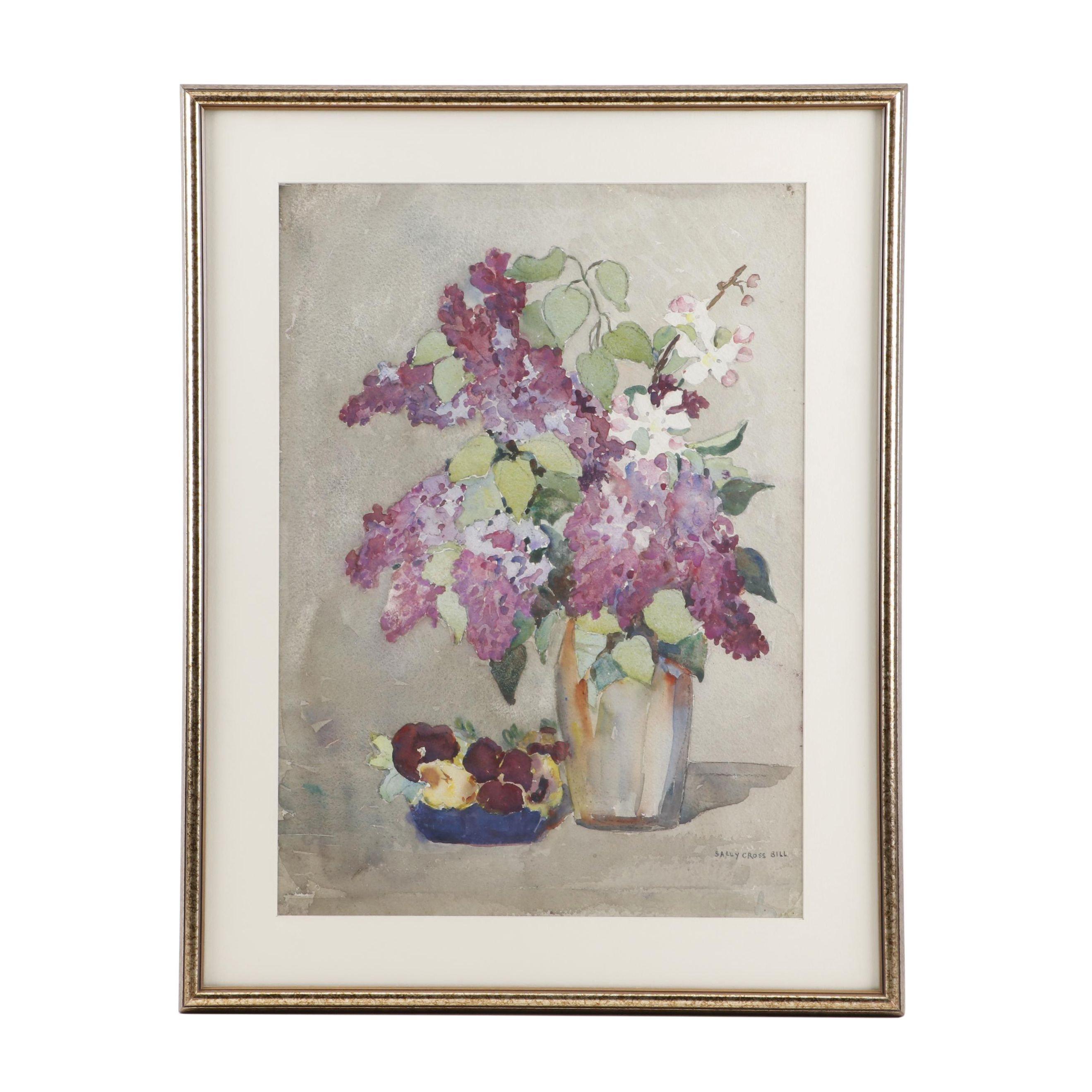 Sally Cross Bill Floral Still Life Watercolor Painting