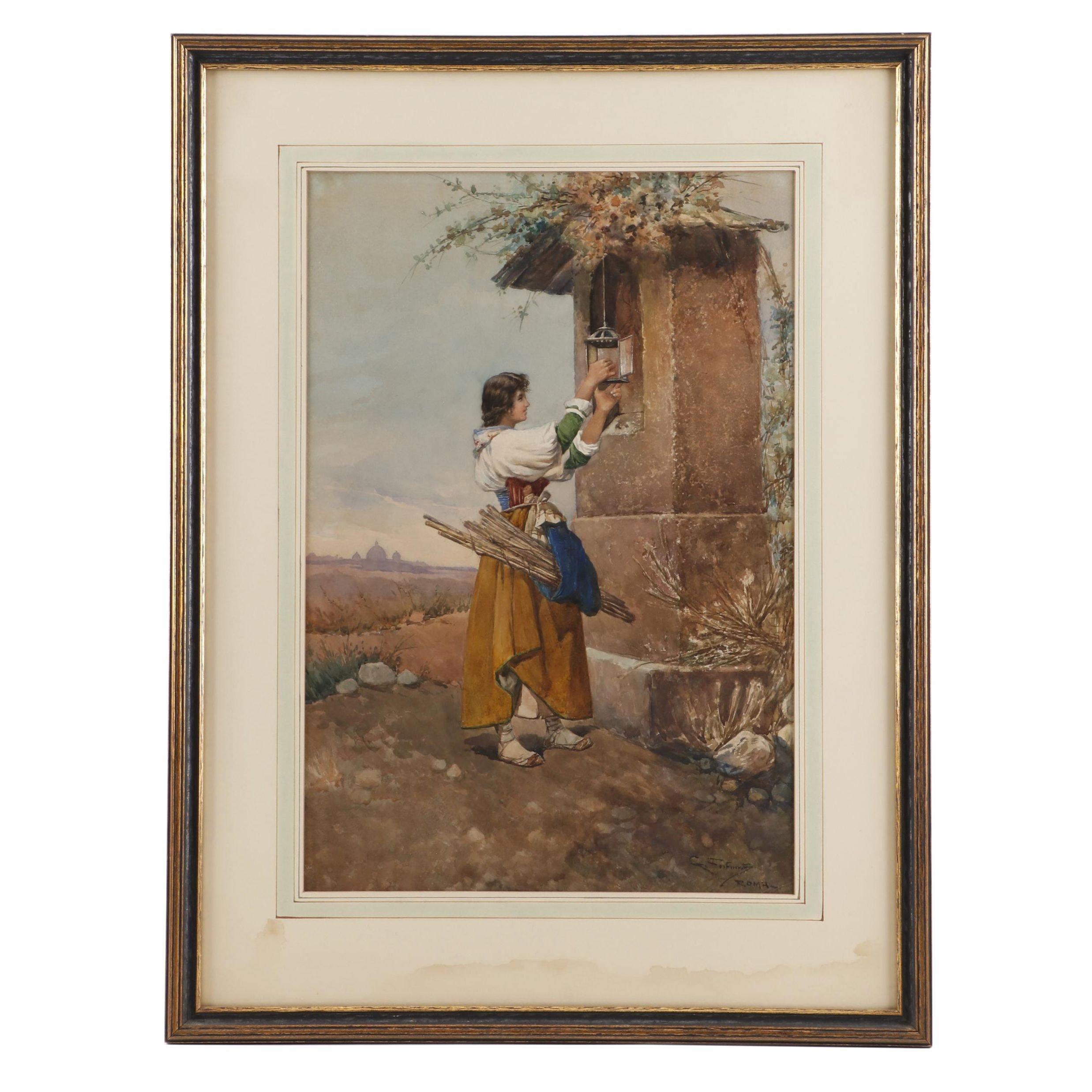 Giovanni Fortunati Pastoral Watercolor Painting