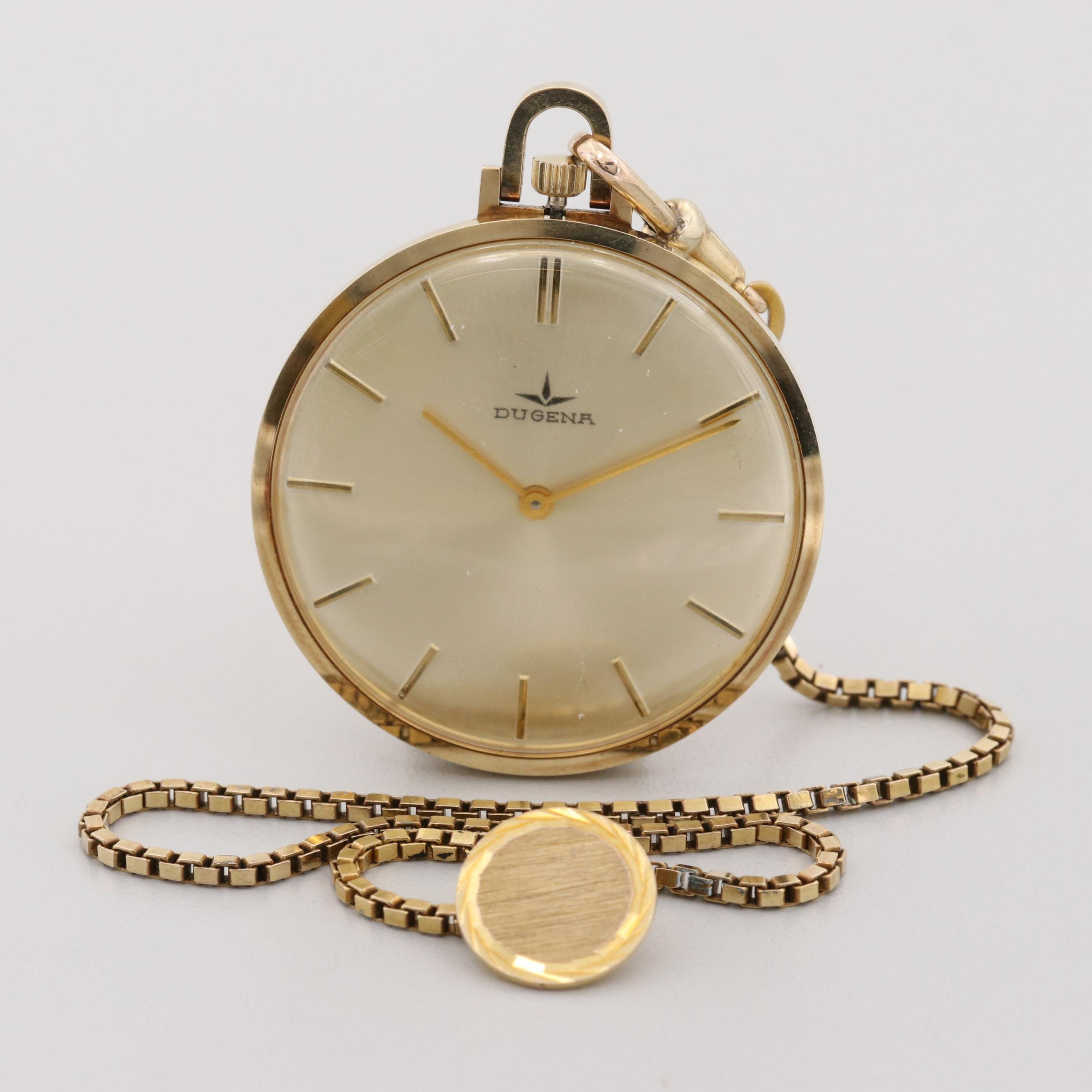 Vintage Dugena 14K Gold Open Face Pocket Watch with 8k Gold Chain and Button Fob