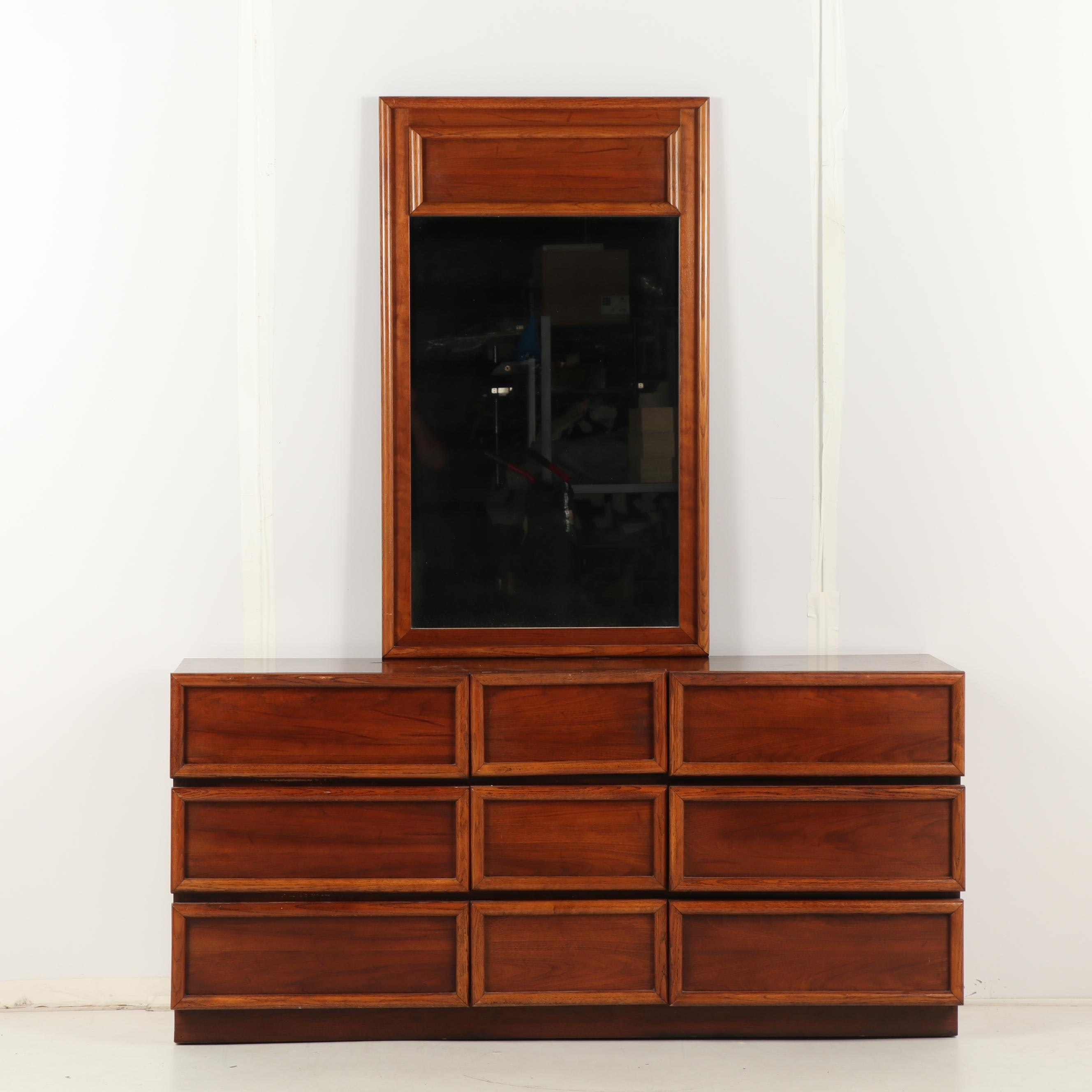 Contemporary Fruitwood Dresser with Attached Mirror, Mid to Late 20th Century