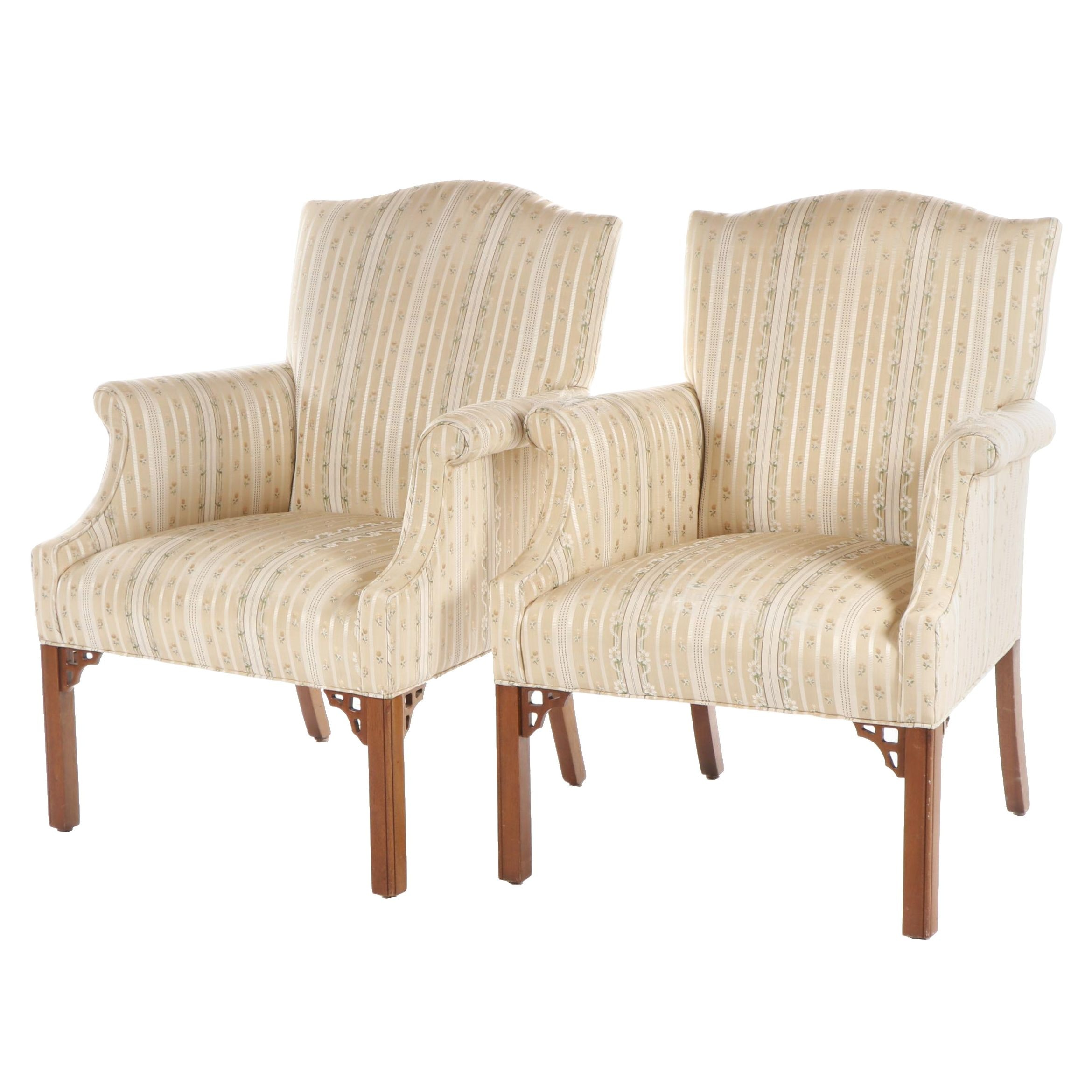 Pair of Wingback Floral Upholstered Armchairs