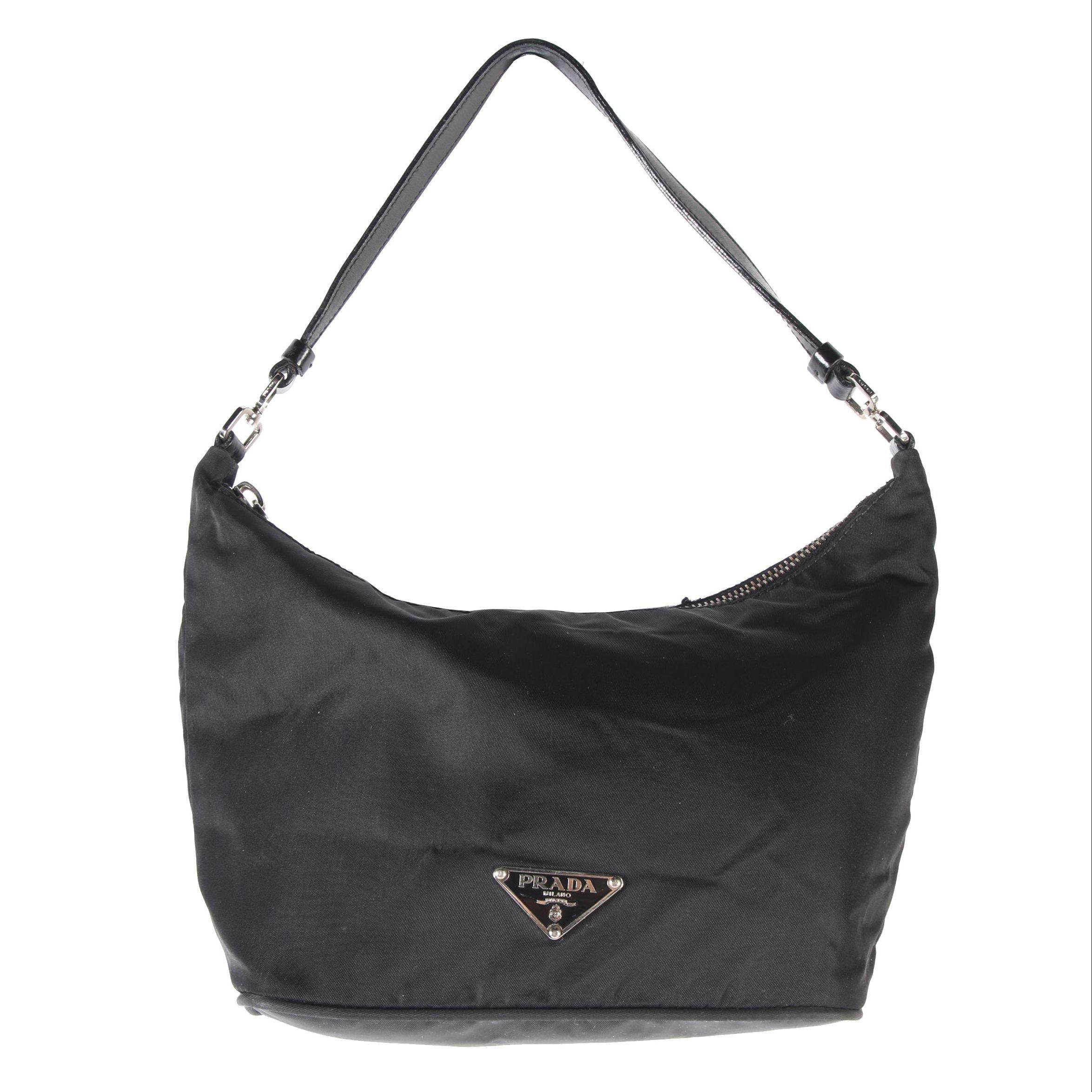 Prada Black Nylon and Leather Demi Sac Bag