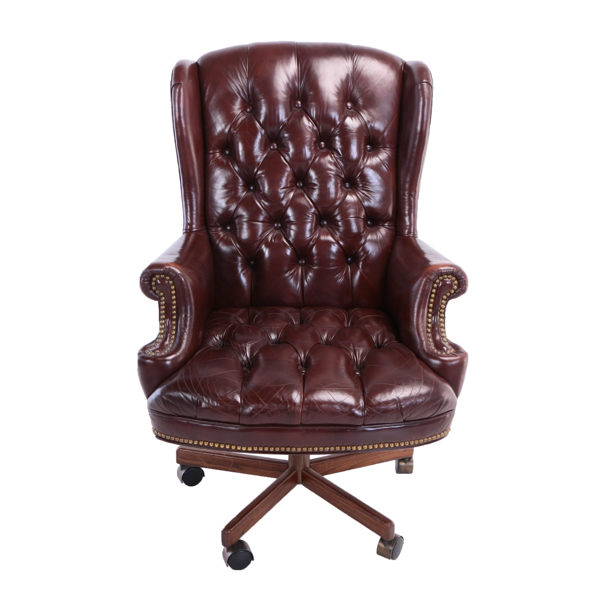Leather Rolling Office Wingback Armchair, 20th Century