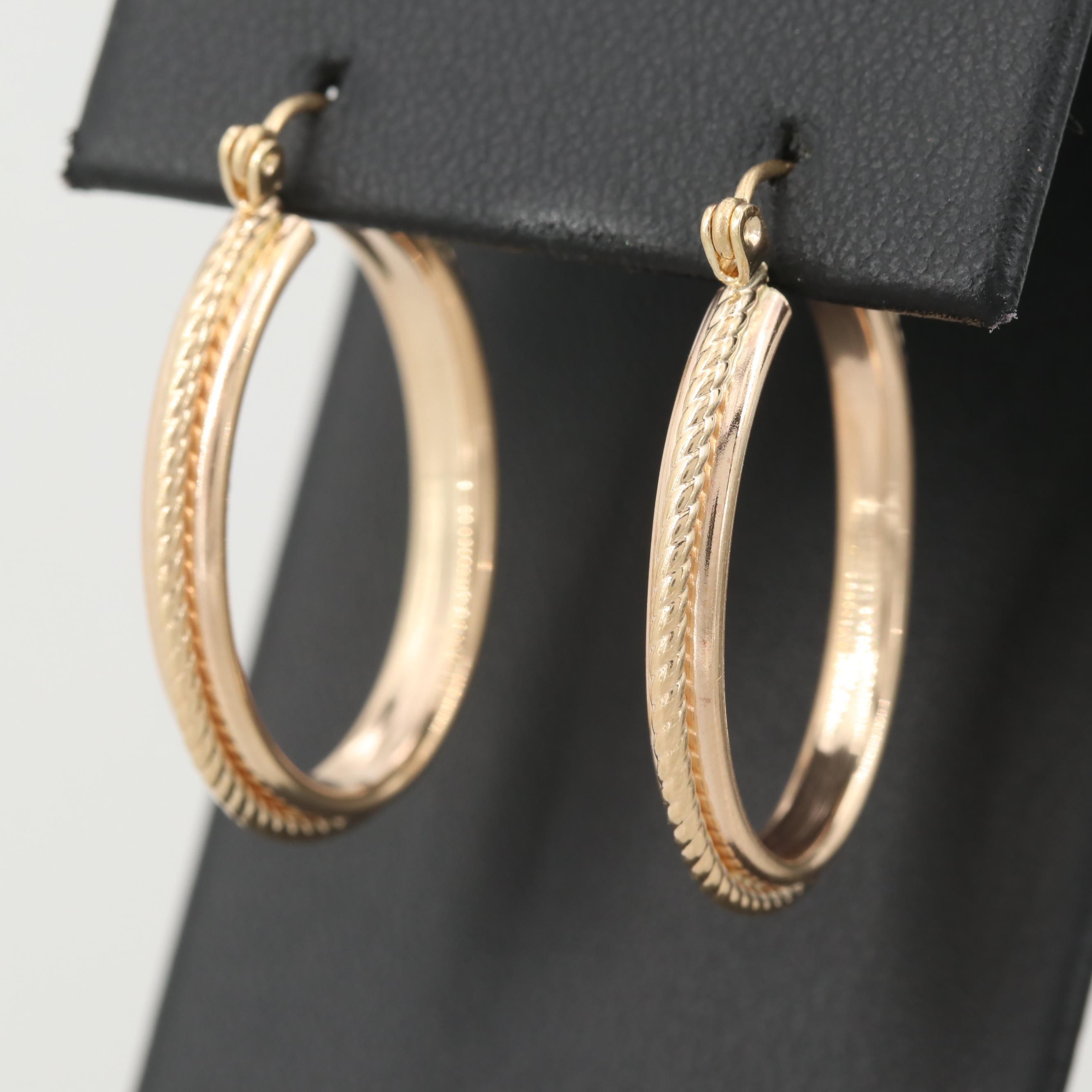 14K Yellow Gold Hoop Earrings with Rope Detail