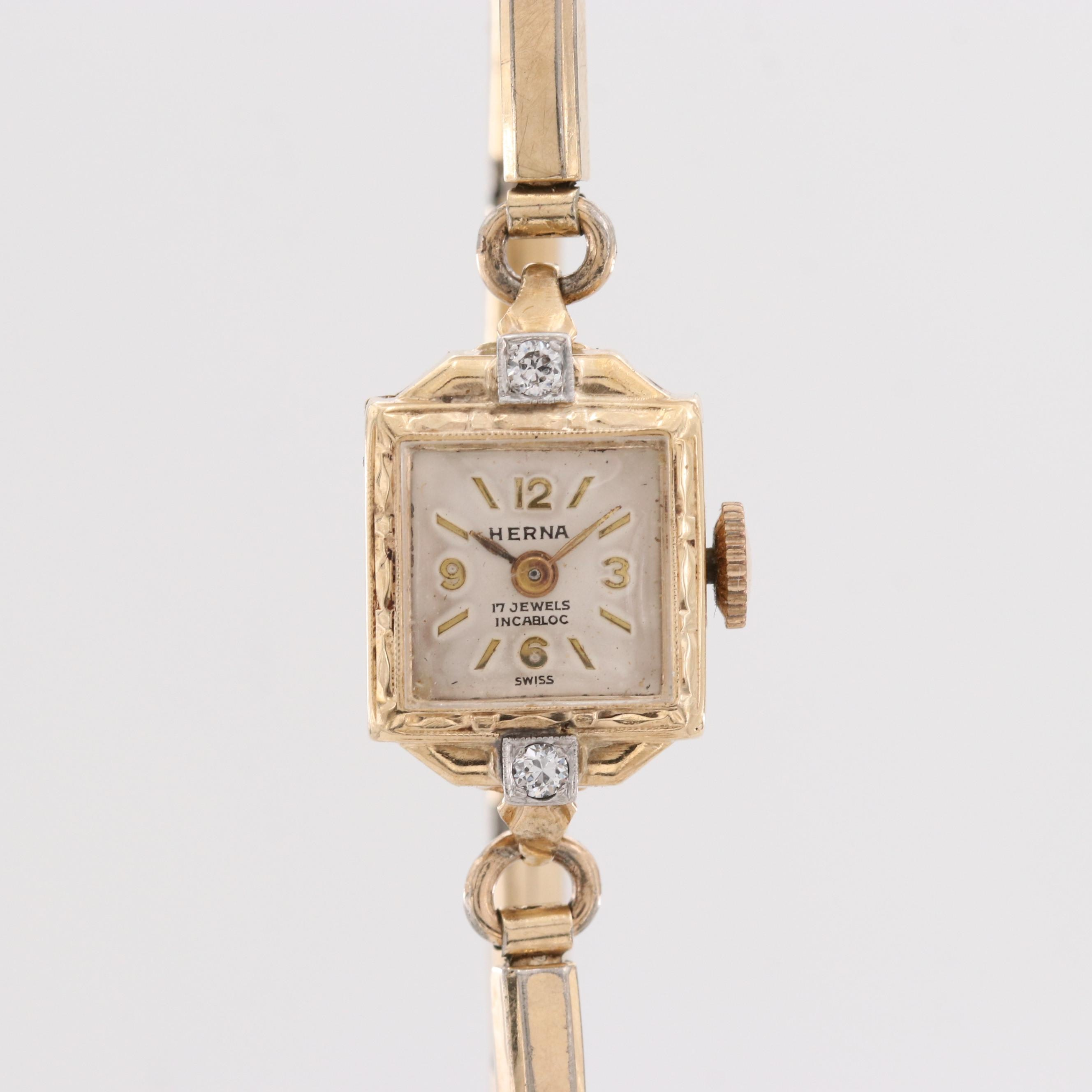 Herna 14K Yellow Gold Diamond Wristwatch