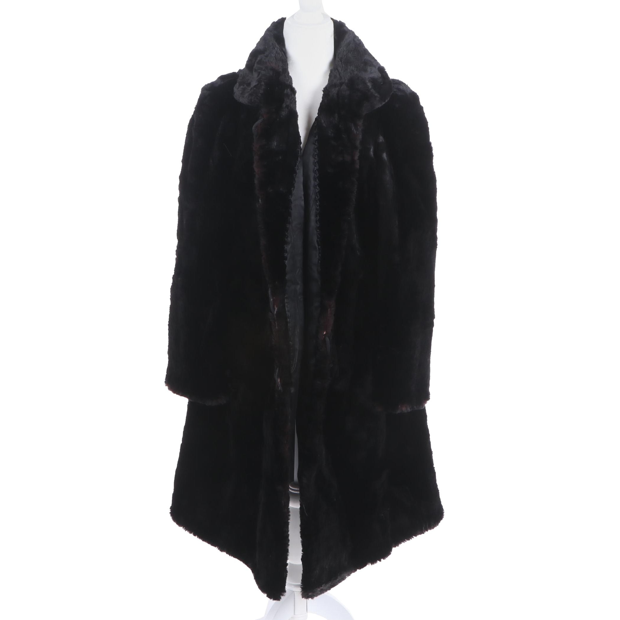 Women's Dyed Black Sheared Beaver Fur Coat, Vintage