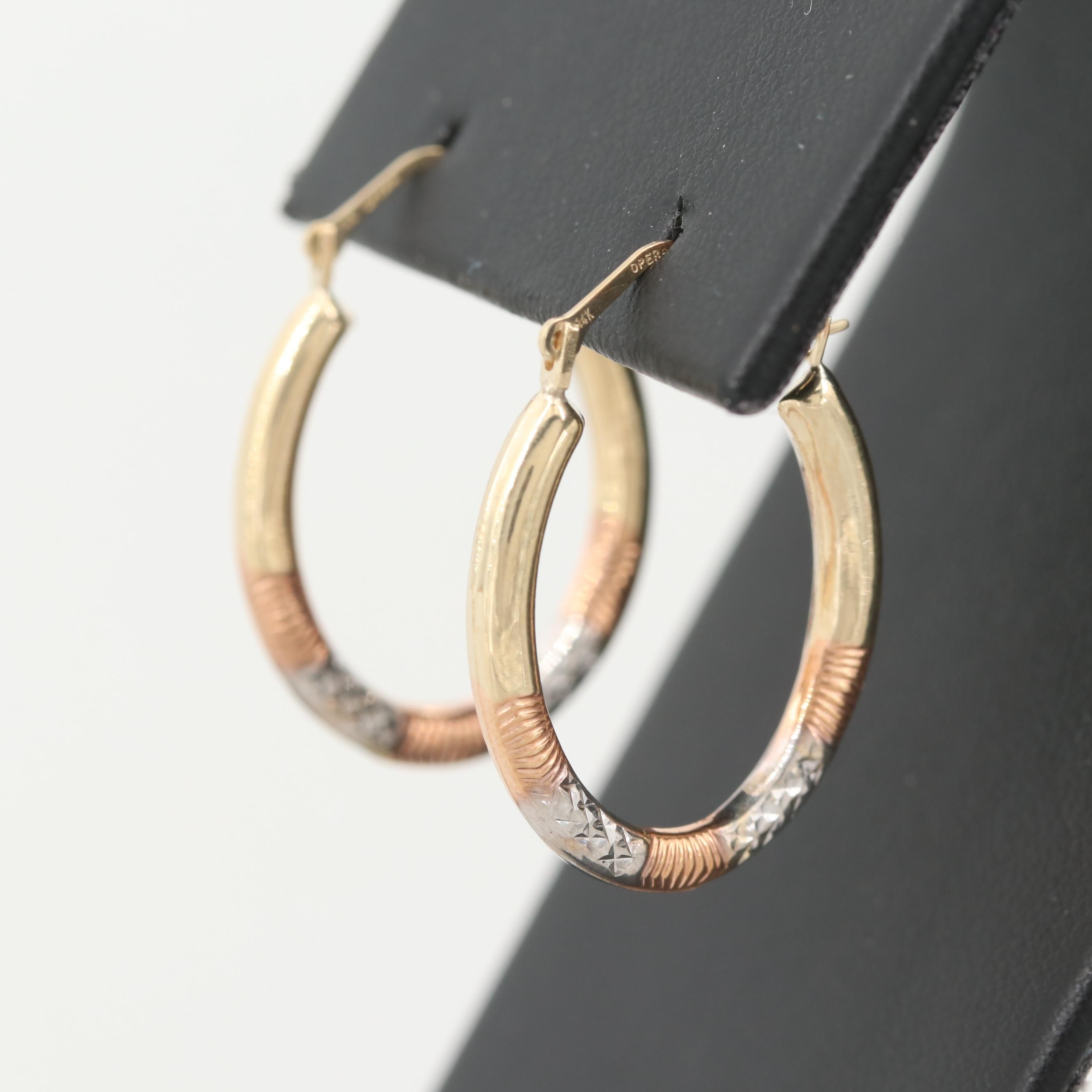 14K Yellow Gold Hoop Earrings with Rose and White Gold Textured Accents