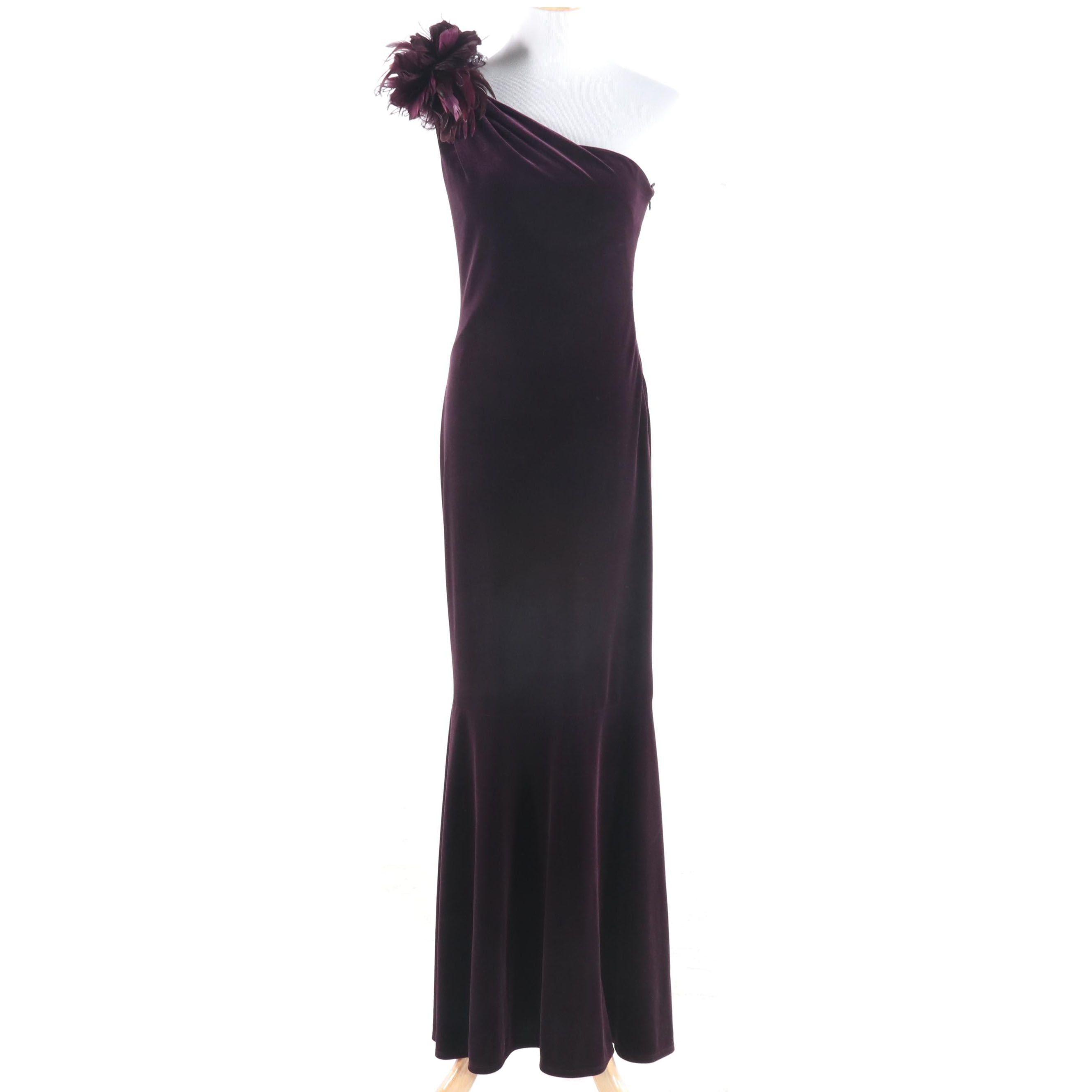 David Meister Aubergine Velour One-Shoulder Gown with Feathers