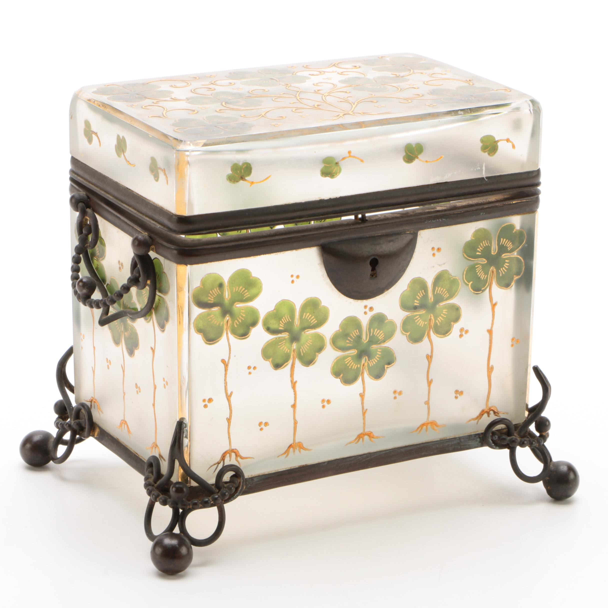 Gilt Metal Mounted Hand-Painted Glass Casket with Clover Motif
