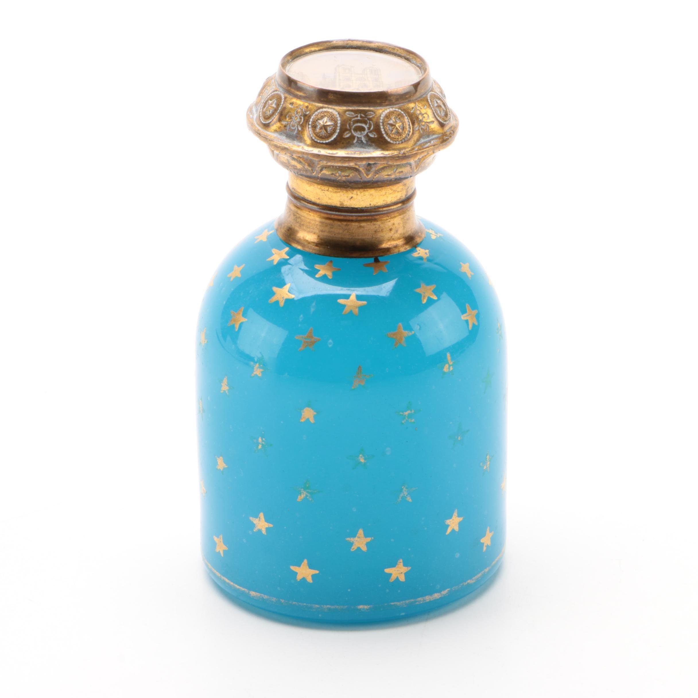 Parisian Blue Opaline Glass Perfume Bottle with Notre-Dame Lithograph Lid