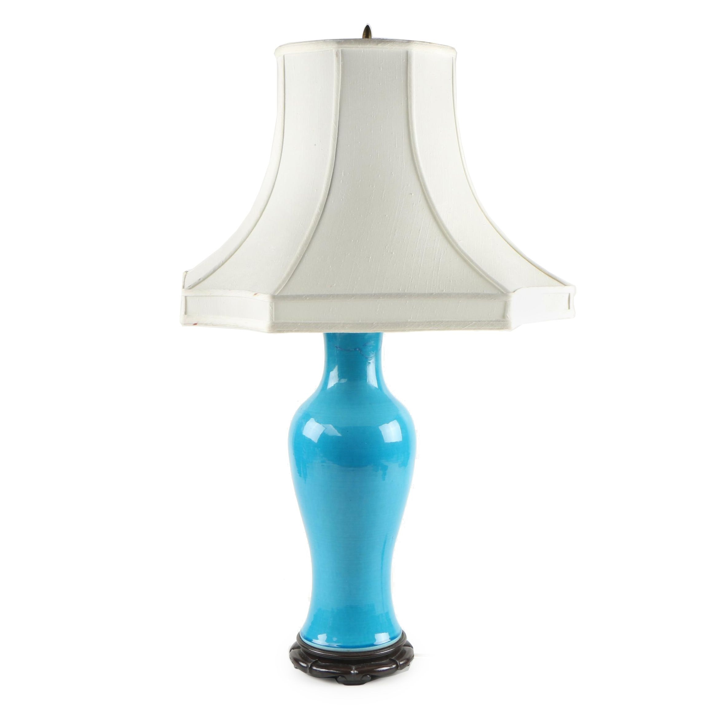 Converted East Asian Turquoise Glazed Pottery Vase Table Lamp with Shade