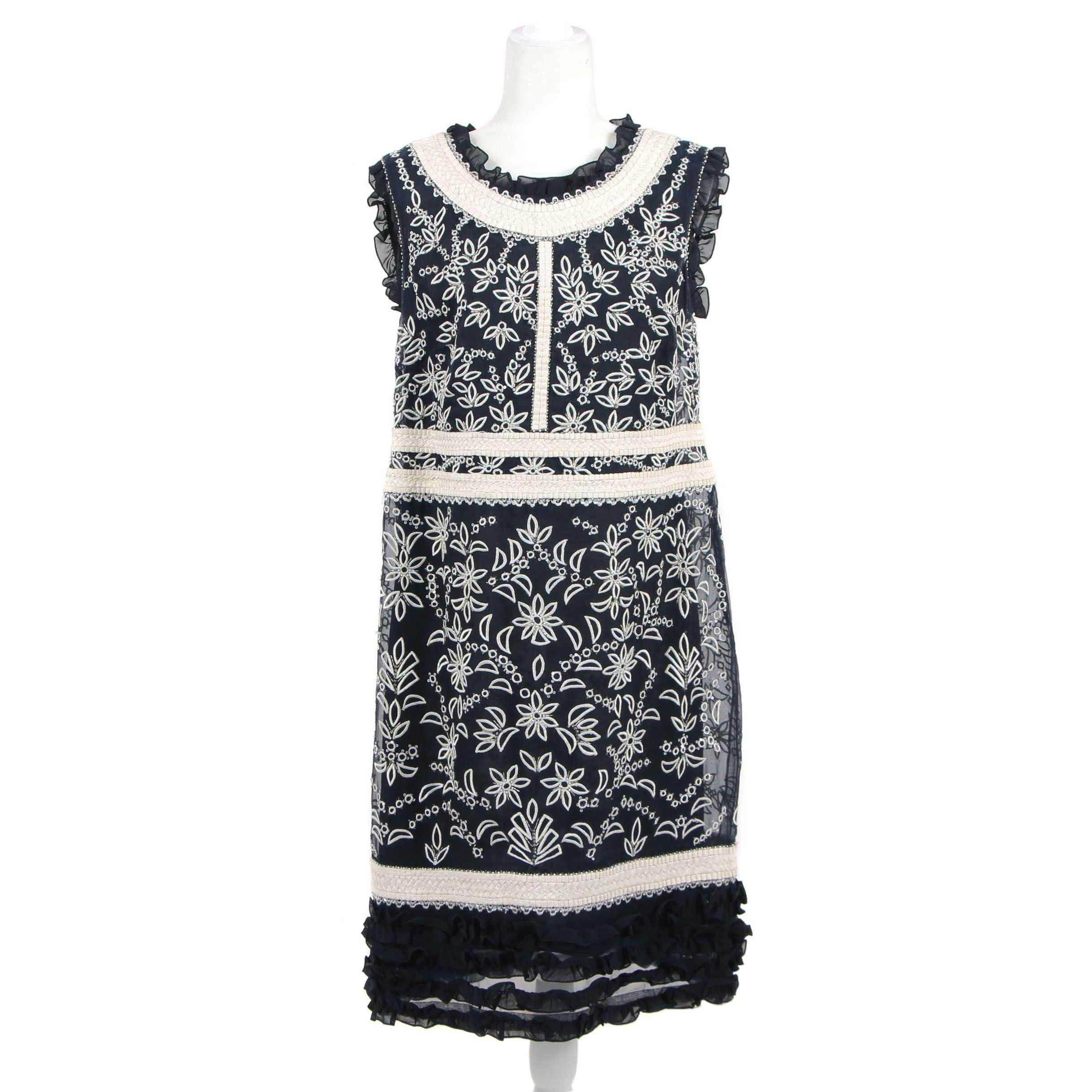 Escada Navy Blue Silk and Embroidered Shift Dress with Crystal Beads