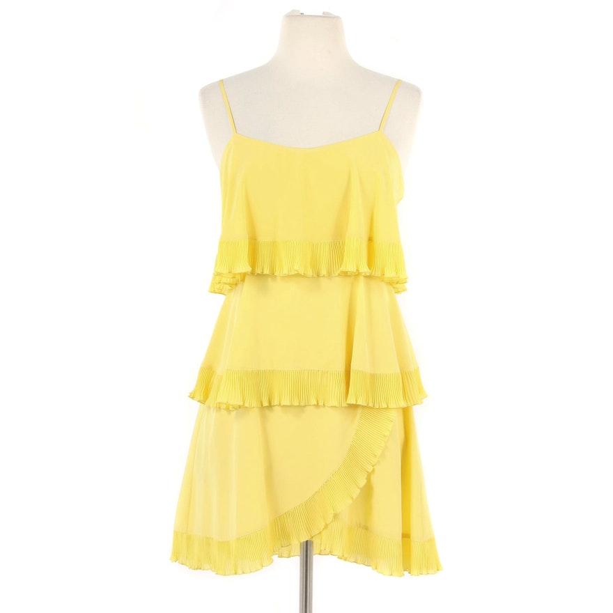 Yoana Baraschi Yellow Silk Tiered Sleeveless Dress with Ruffled Trim