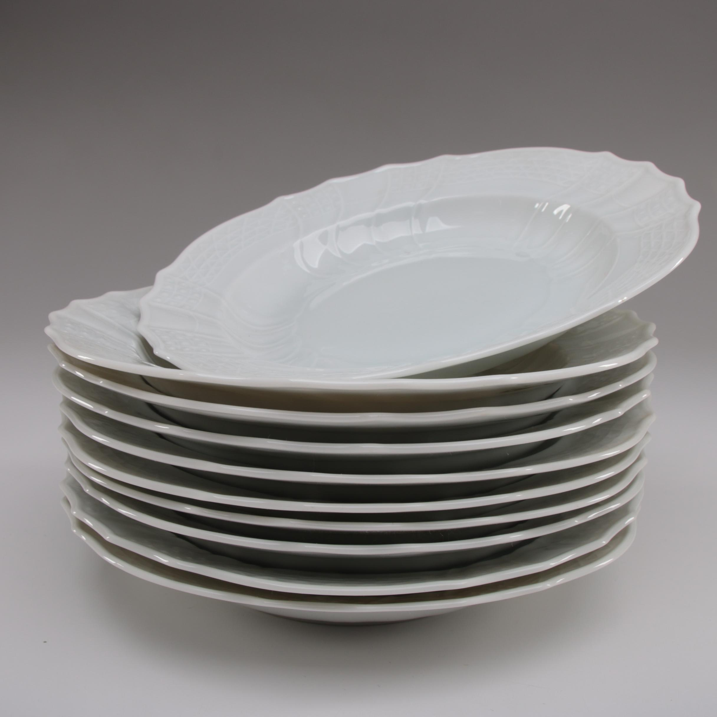 """Hutschenreuther """"Dresden"""" Porcelain Rim Soup Bowls, 1939–1965"""
