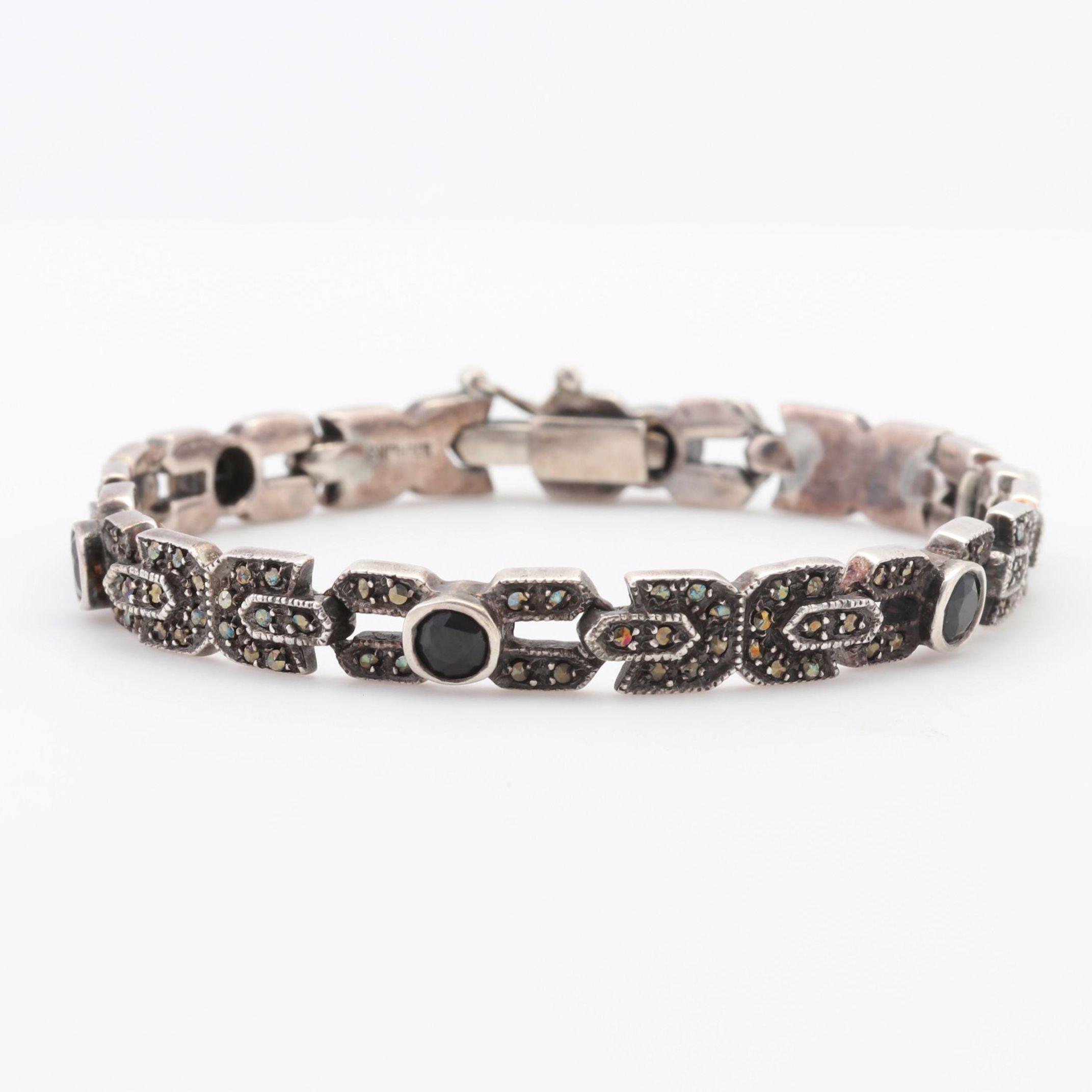 Sterling Silver Onyx and Hematite Tennis Bracelet