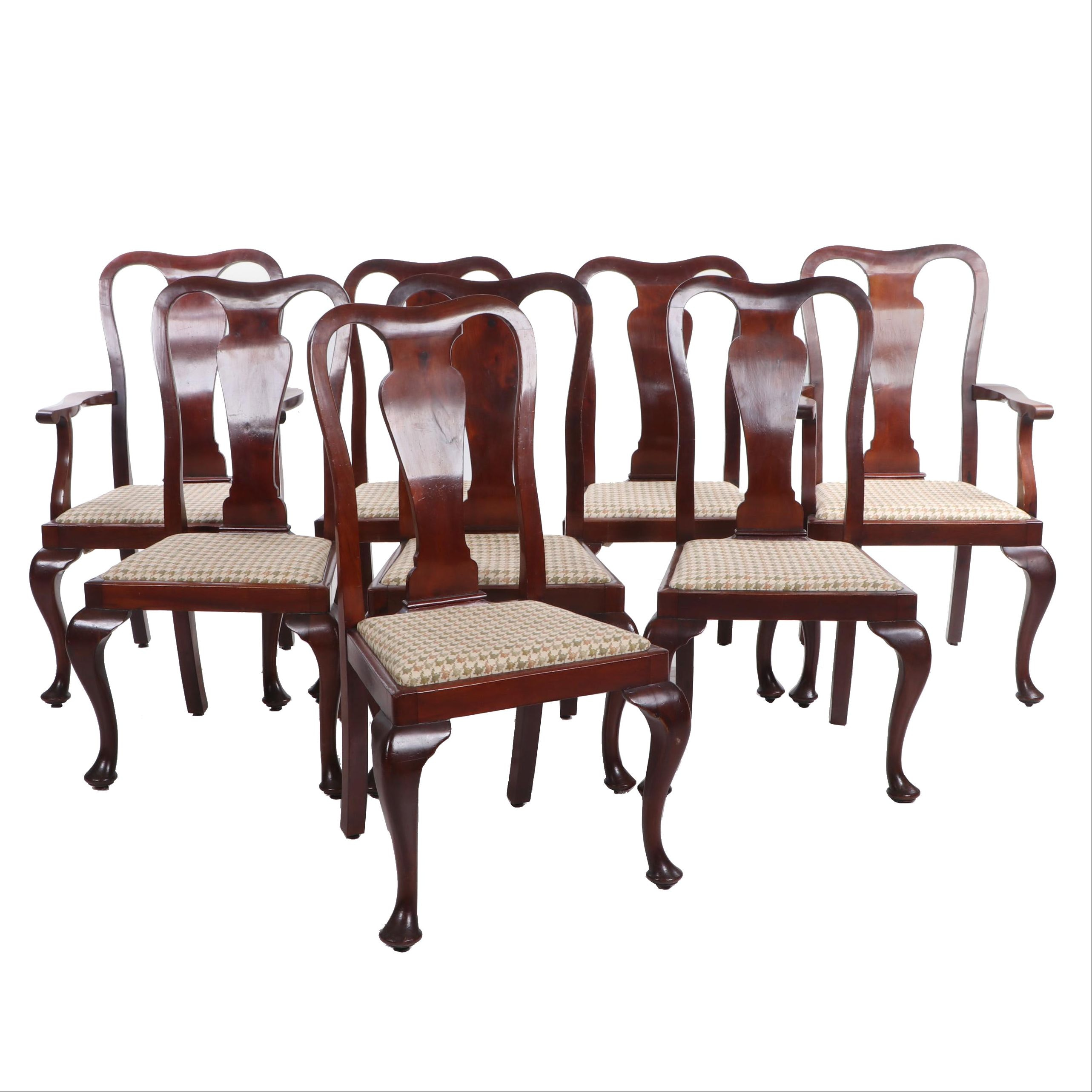 Set of Eight Queen Anne Style Mahogany-Finish Dining Chairs, Late 20th Century