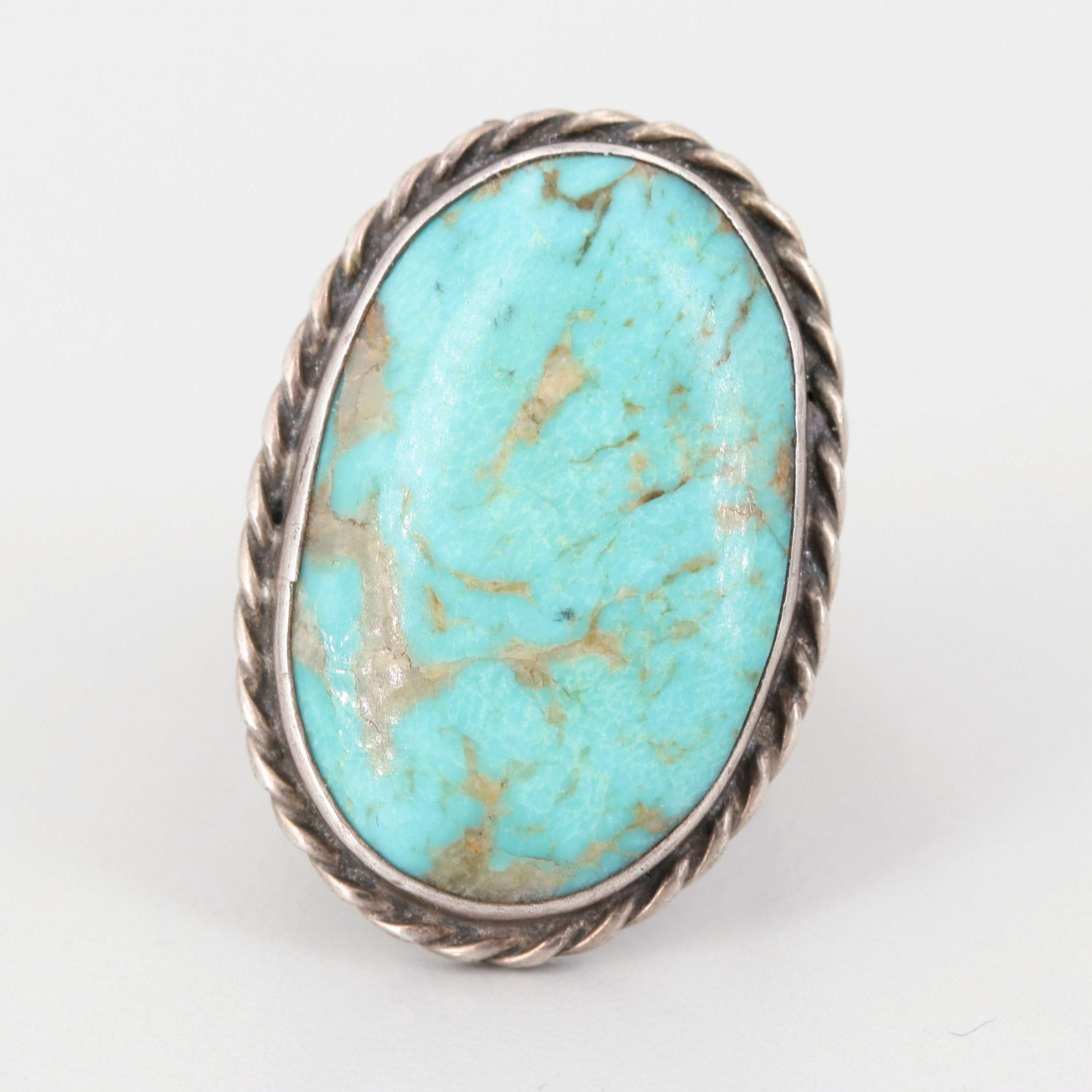 Southwestern Sterling Silver Turquoise Ring with Figural Shank