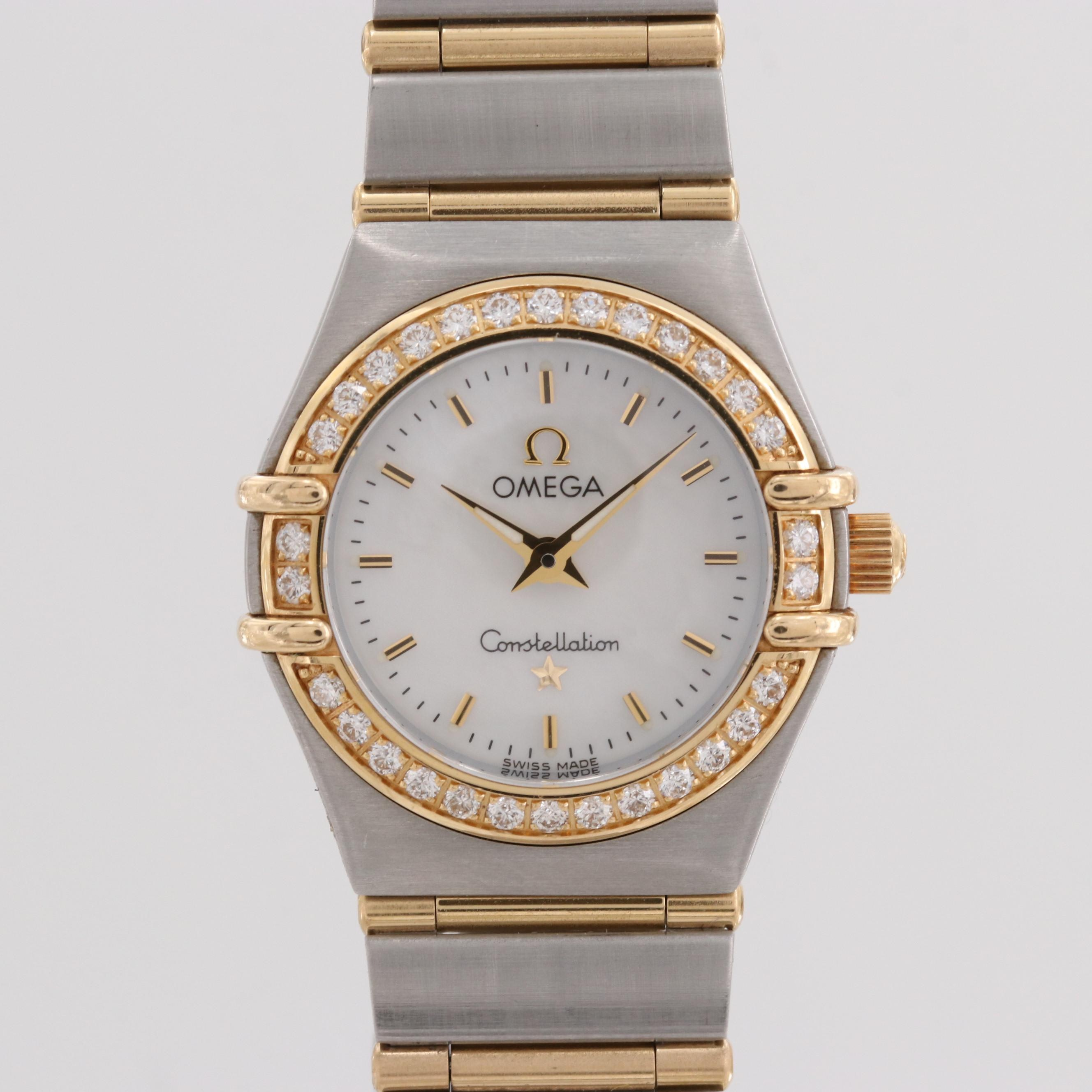 Omega Stainless Steel and 18K Yellow Gold Quartz Wristwatch With Diamond Bezel