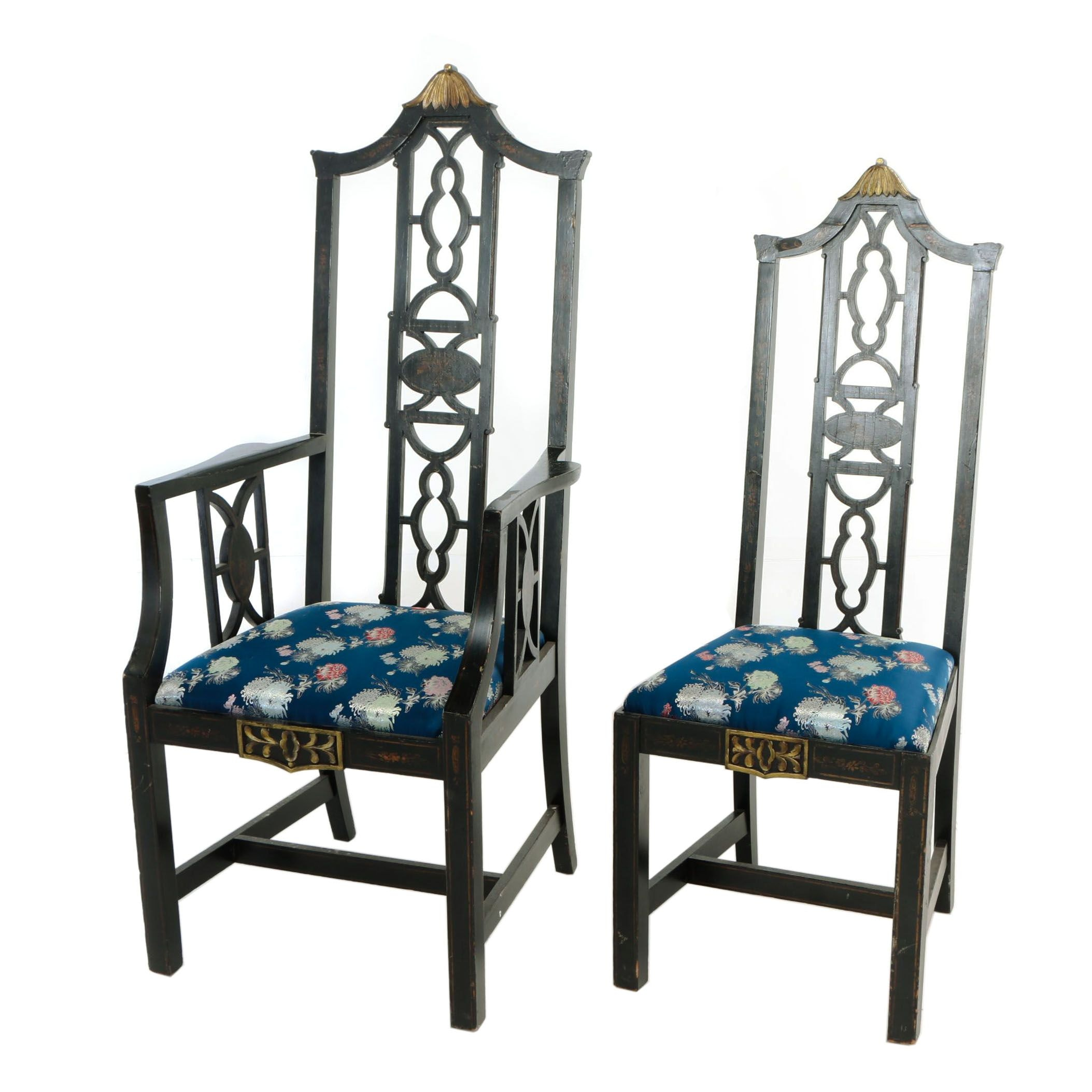 Two Chinoiserie Ebonized and Parcel-Gilt Dining Chairs, 20th Century