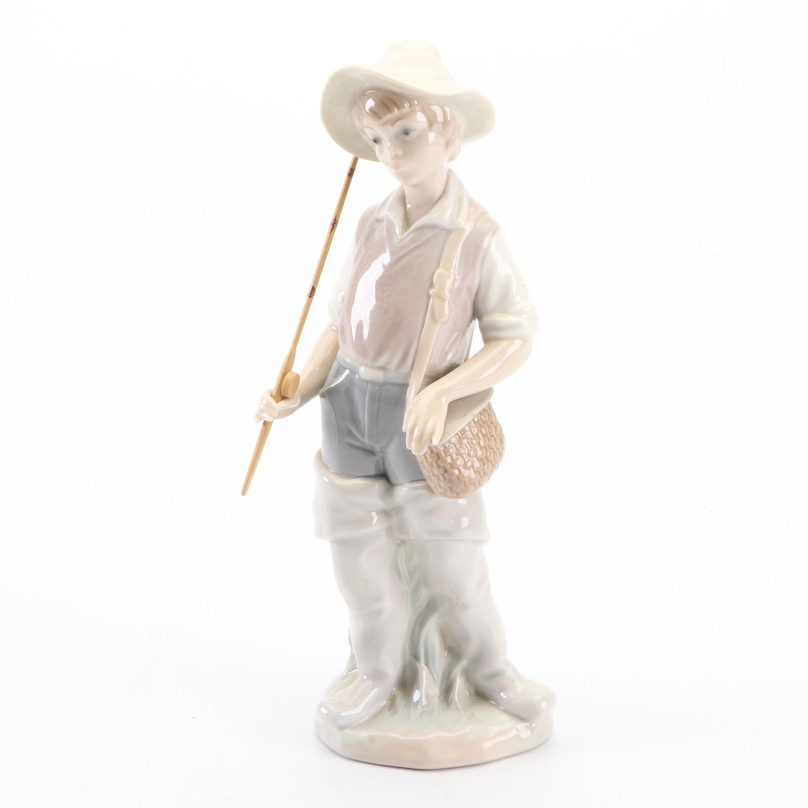 "Lladró ""Fisher Boy"" Porcelain Figurine, 1980s"