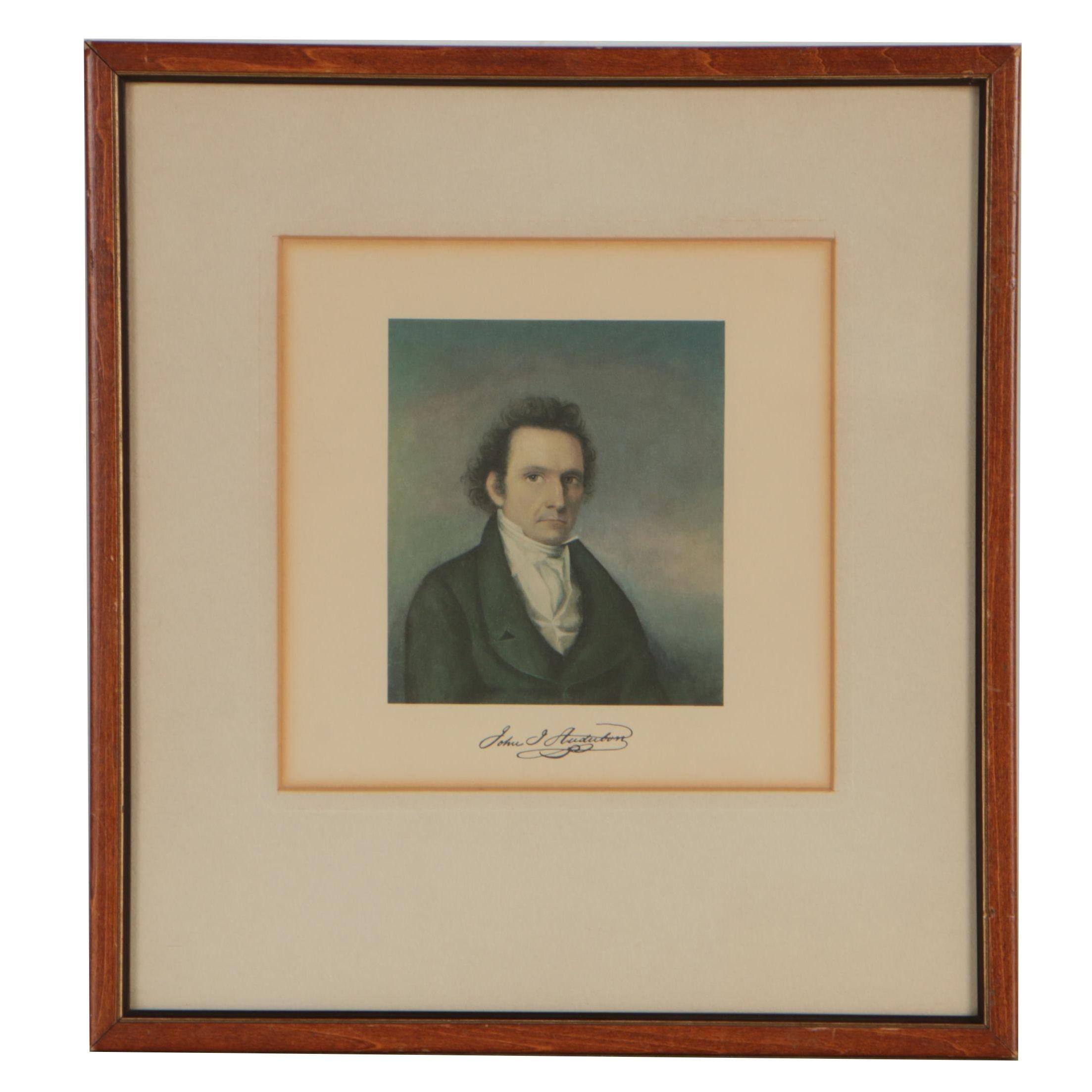 """20th Century Offset Lithograph after John James Audubon """"Self-Portrait"""""""
