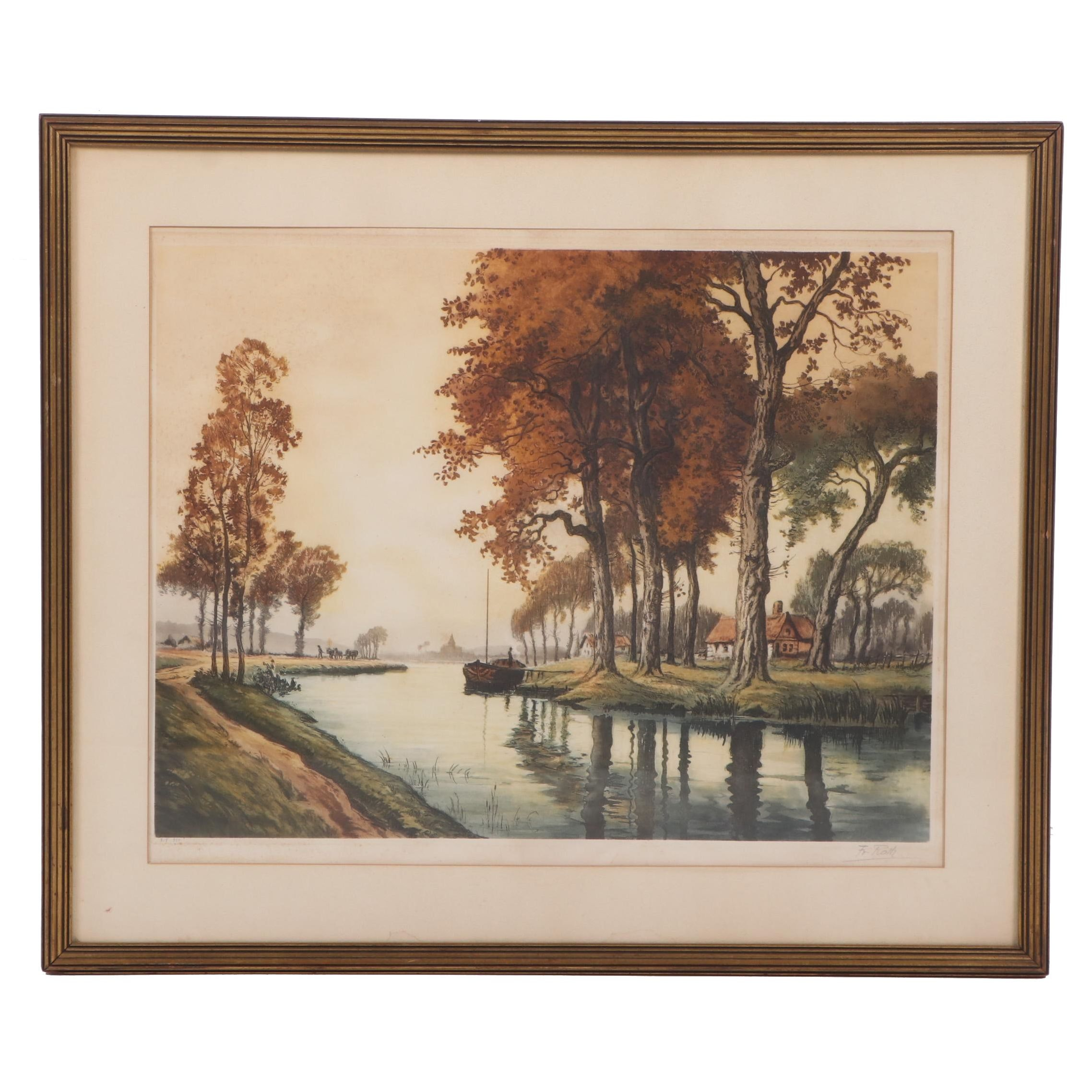 Francis Roth Hand Colored Etching