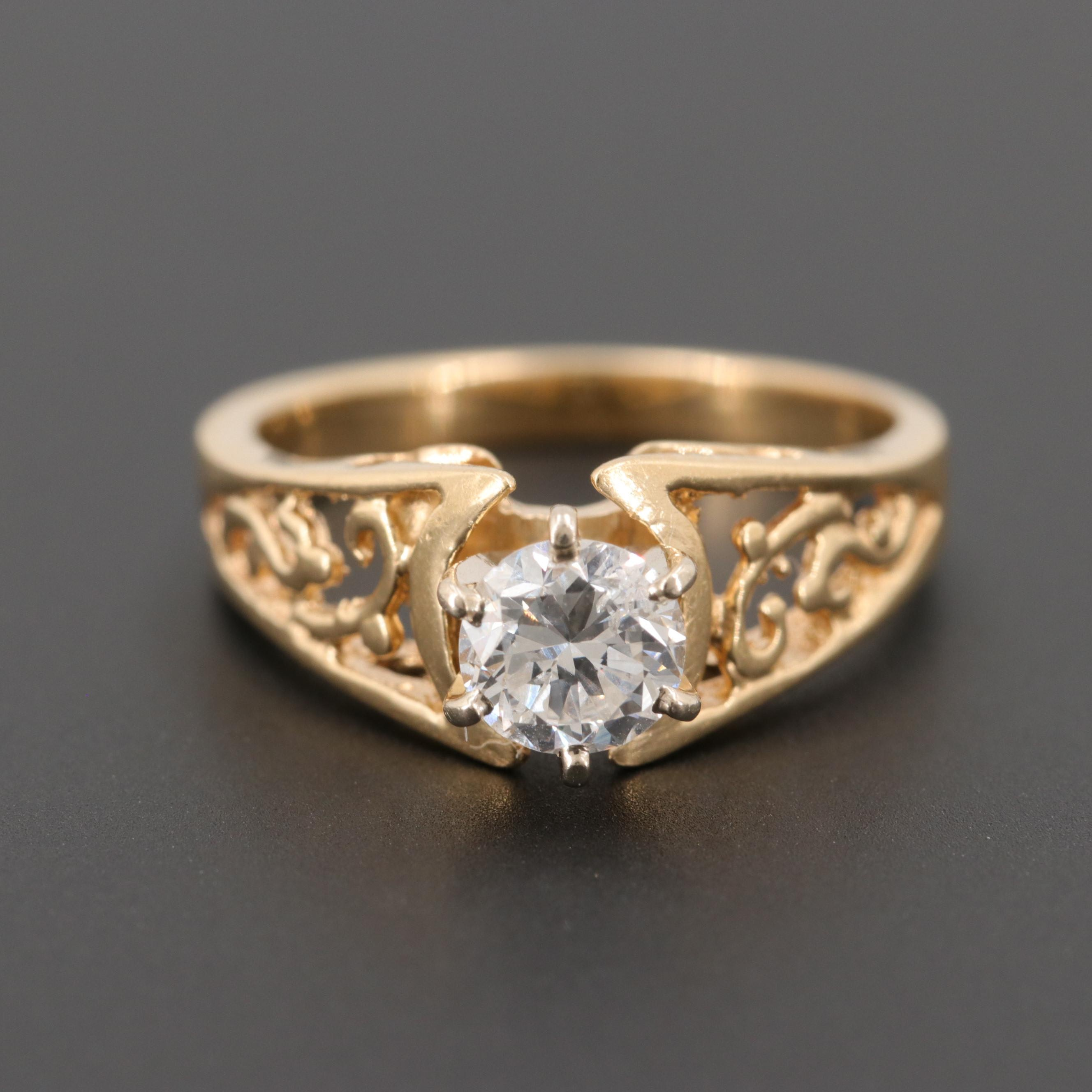 14K Yellow Gold Diamond Ring with White Gold Setting