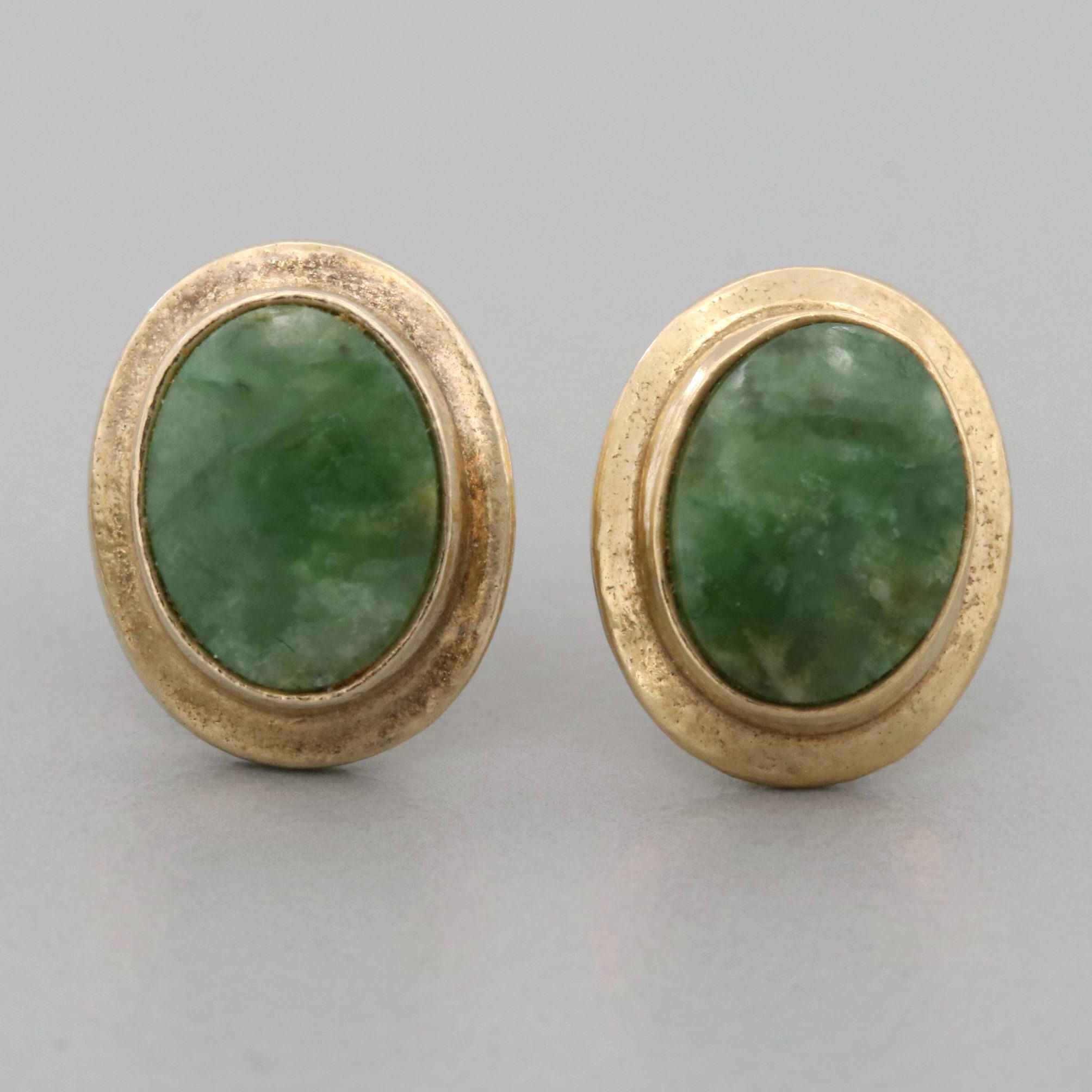 14K Yellow Gold and Gold Tone Connemara Marble Stud Earrings