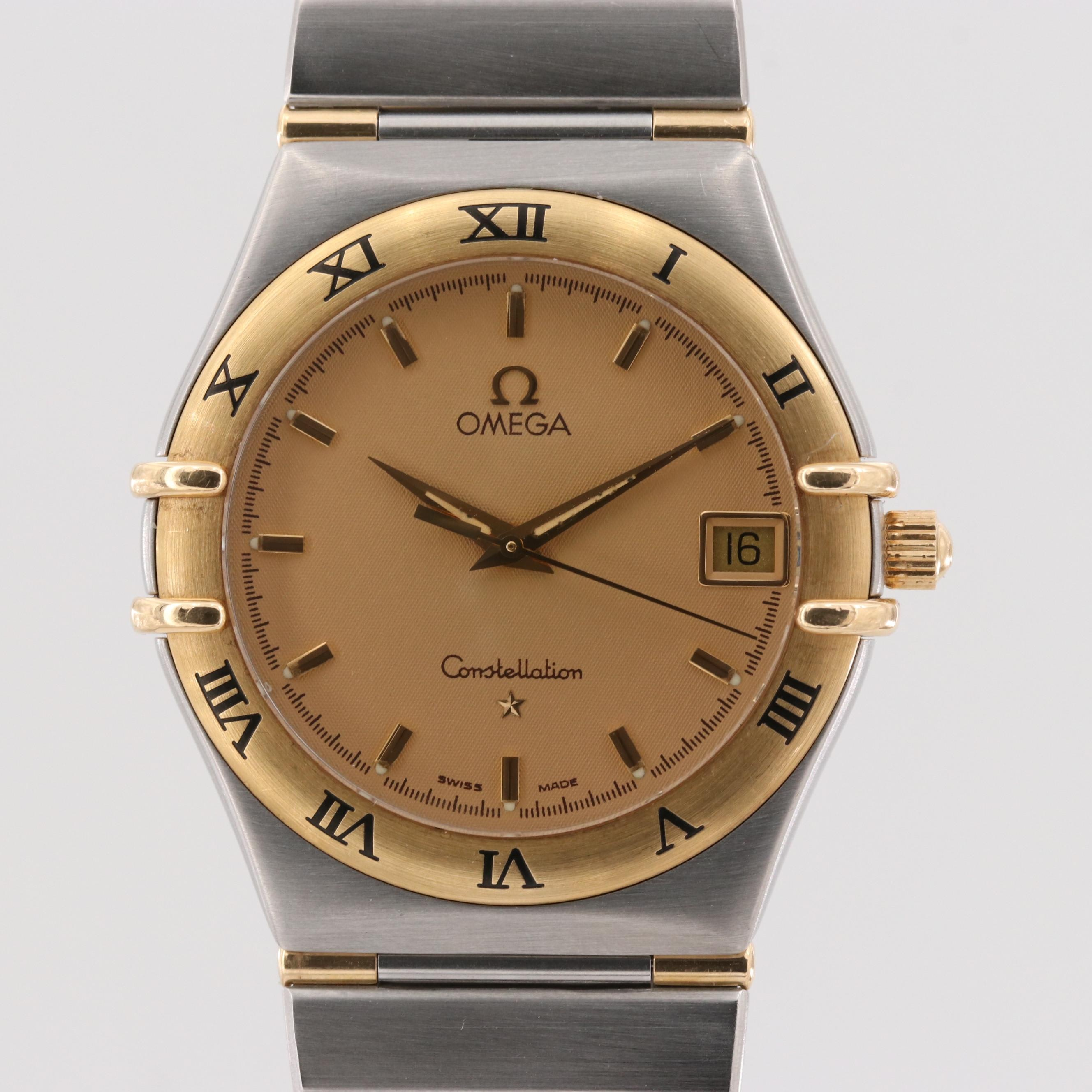 Omega Constellation Stainless Steel and 18K Yellow Gold Quartz Wristwatch