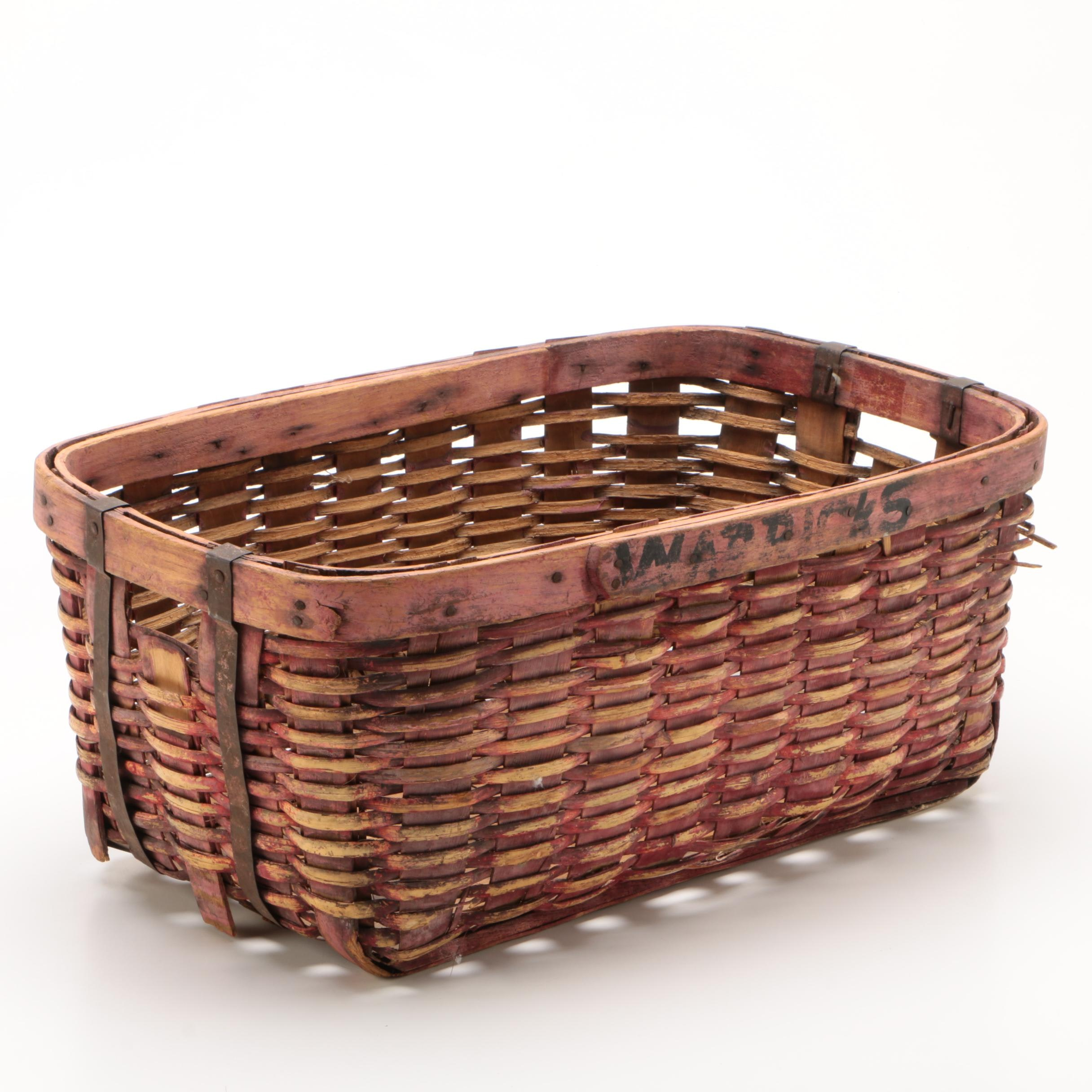 New England Painted Splint Gathering Basket, Early 20th Century