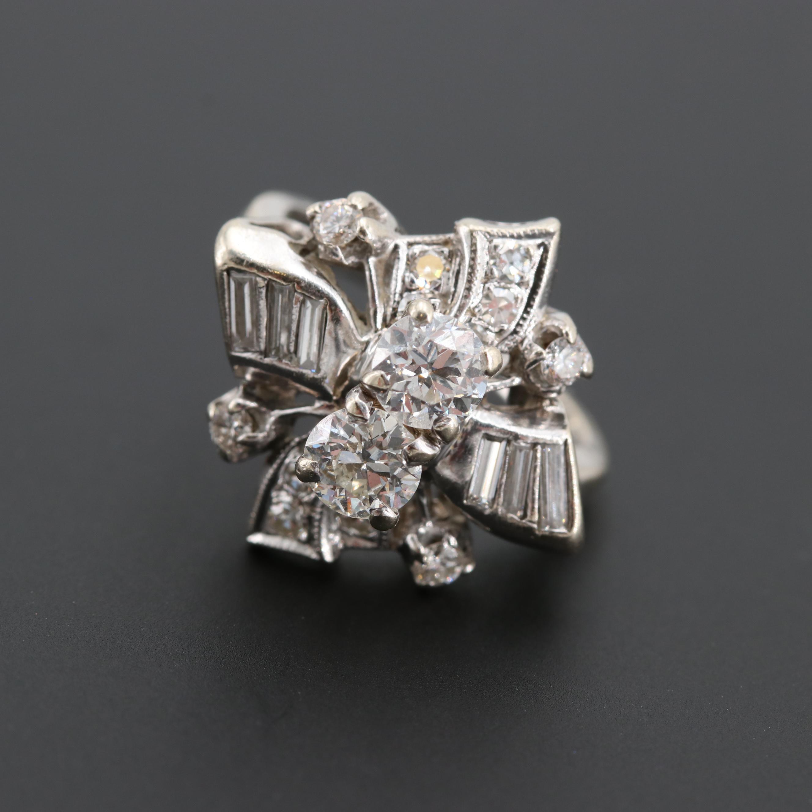 Vintage 14K White Gold 1.30 CTW Diamond Ring