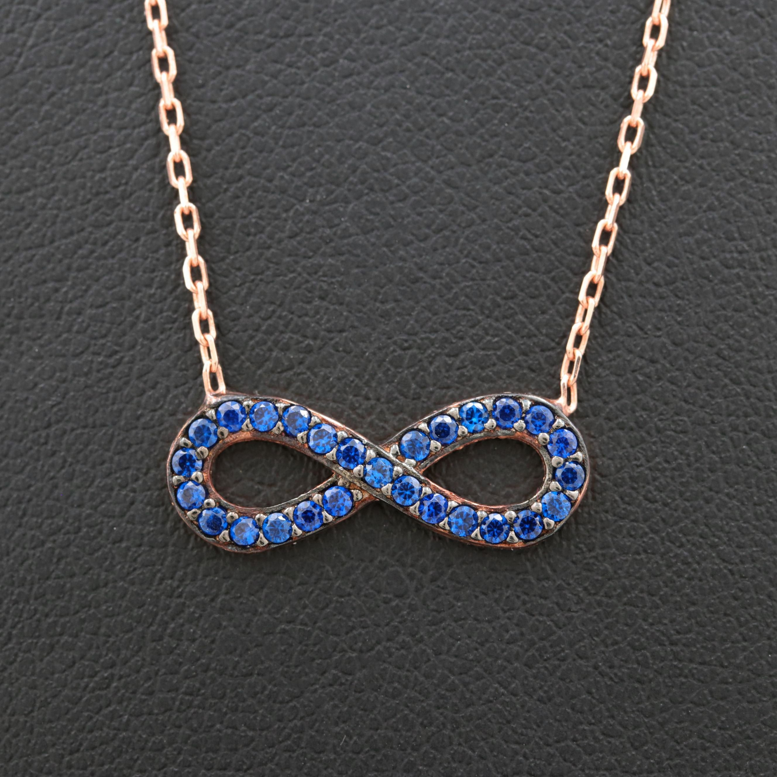 Rose Gold Wash on Sterling Silver Synthetic Blue Spinel Infinity Necklace