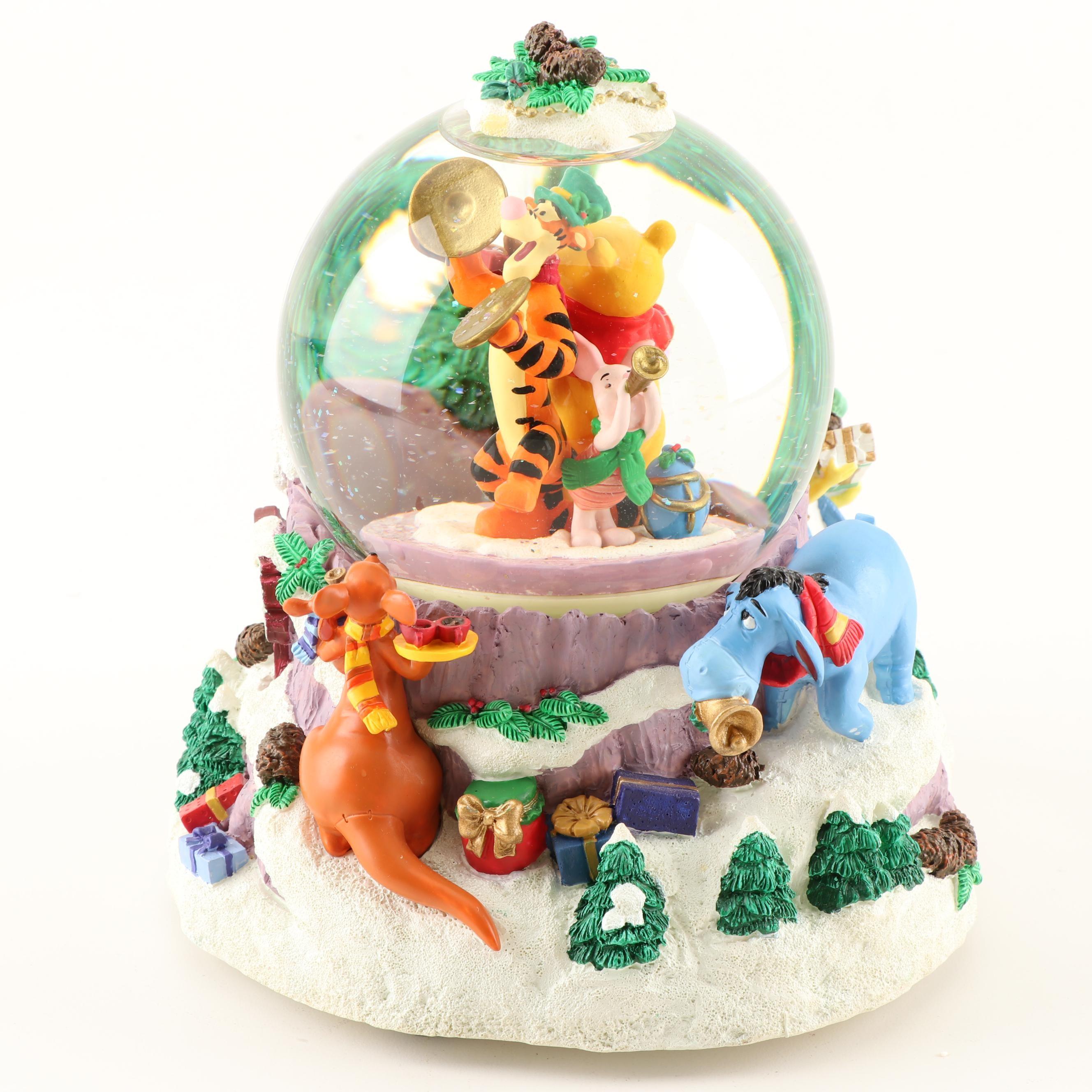 "Disney Winnie The Pooh Snow Globe ""We Wish You A Merry Christmas"" Music Box"