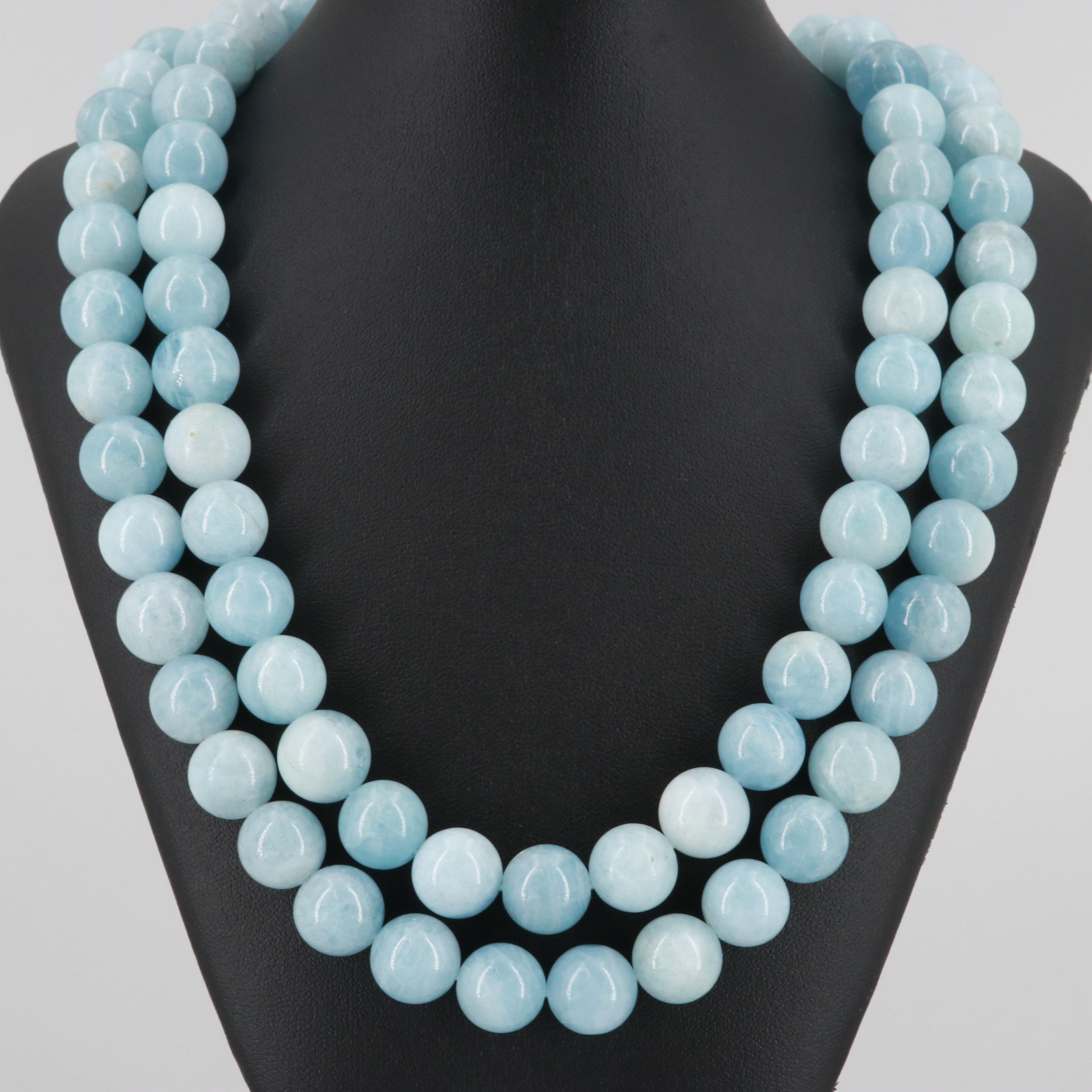 Sterling Silver Aquamarine Beaded Necklace