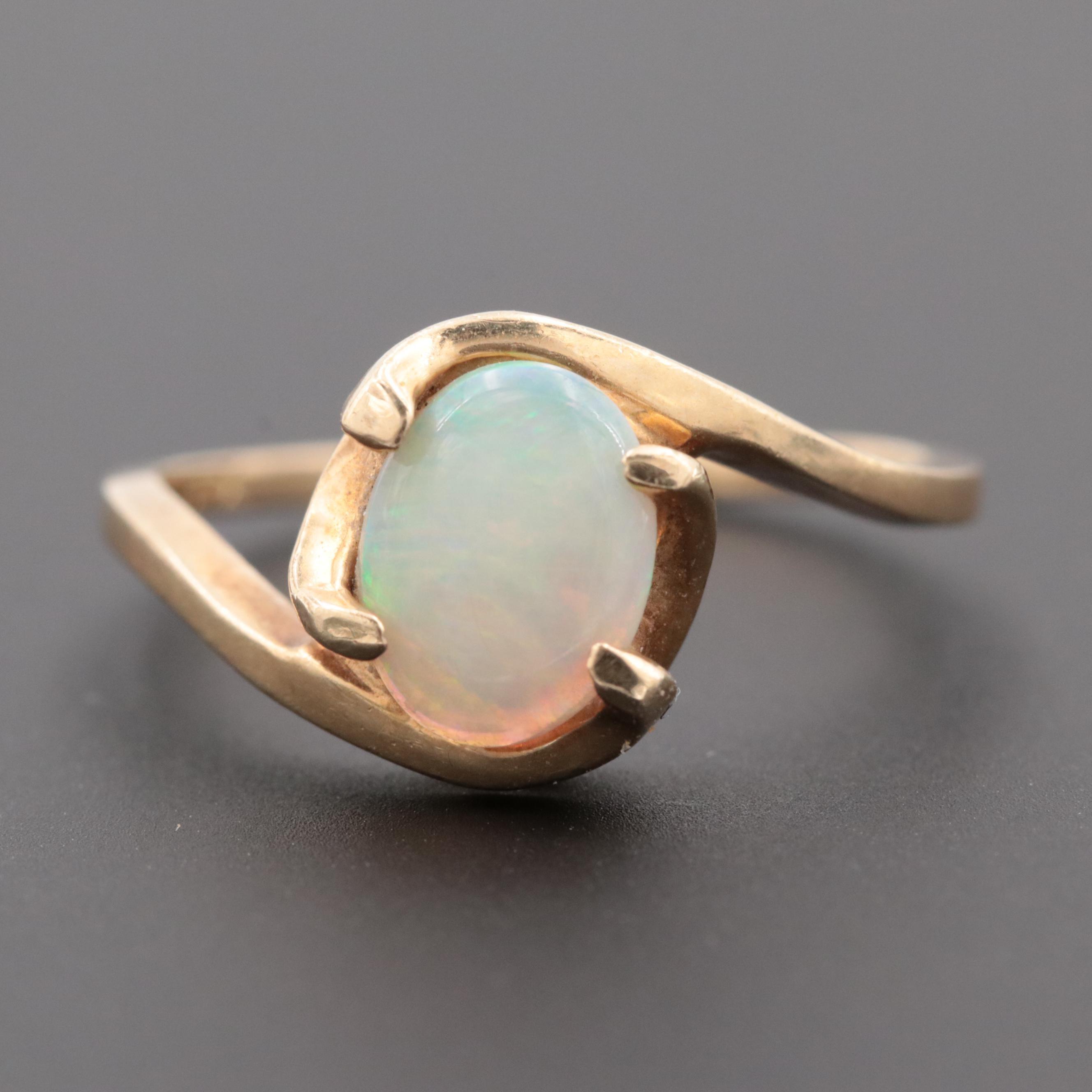 10K Yellow Gold Opal Bypass Ring