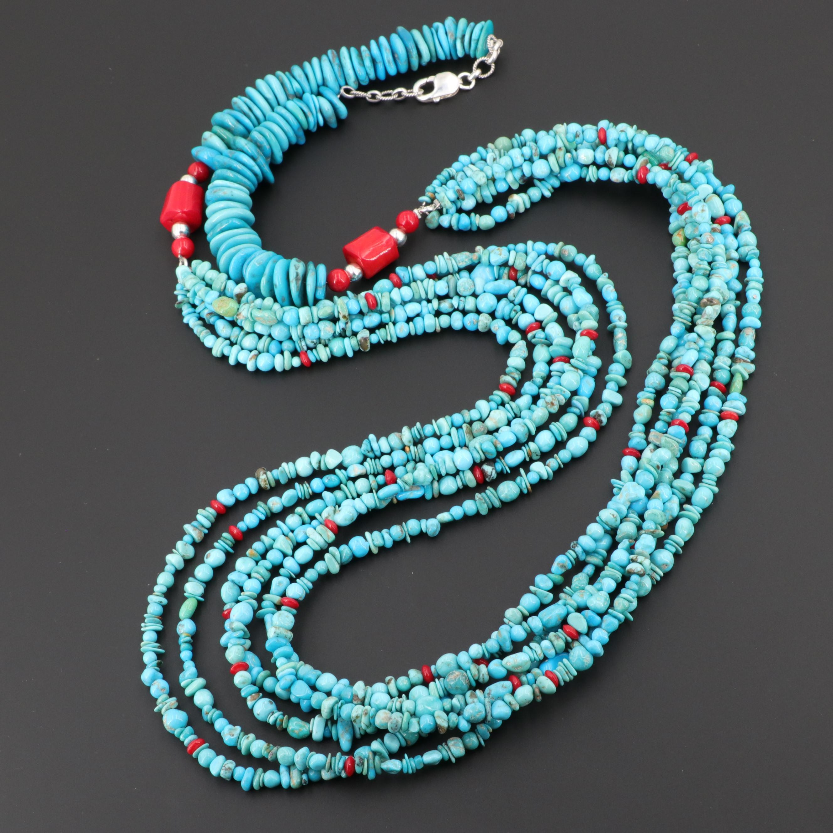 Sterling Silver Turquoise and Coral Multi-Strand Necklace
