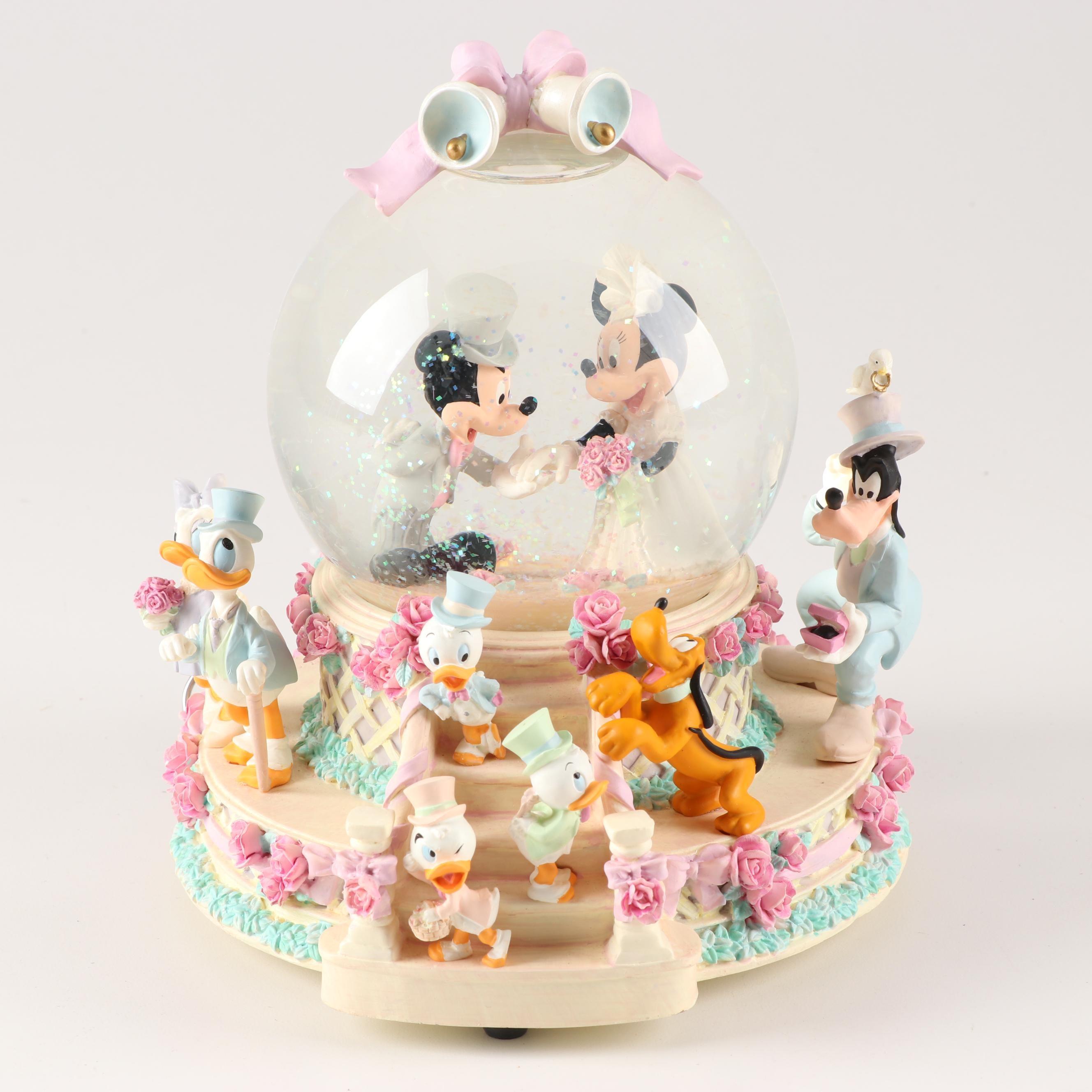 "Disney's Mickey and Minnie Snow Globe "" Wedding March"" Music Box"