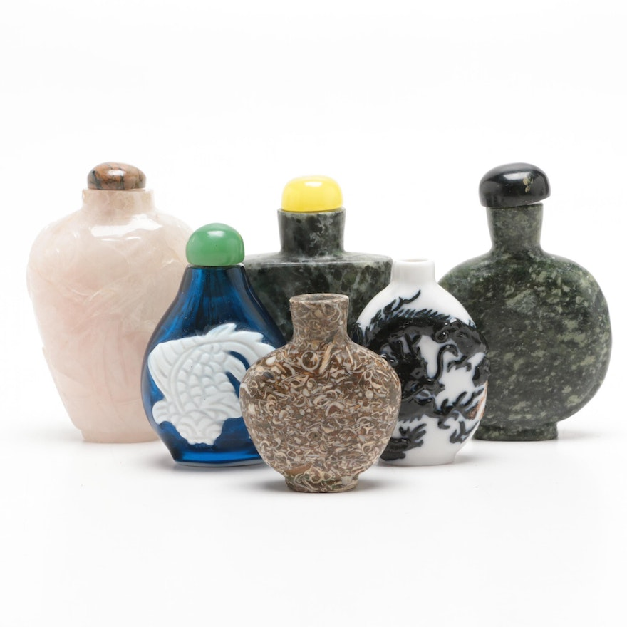 Chinese Marble, Rose Quartz, Fossiliferous Limestone and Glass Snuff Bottles