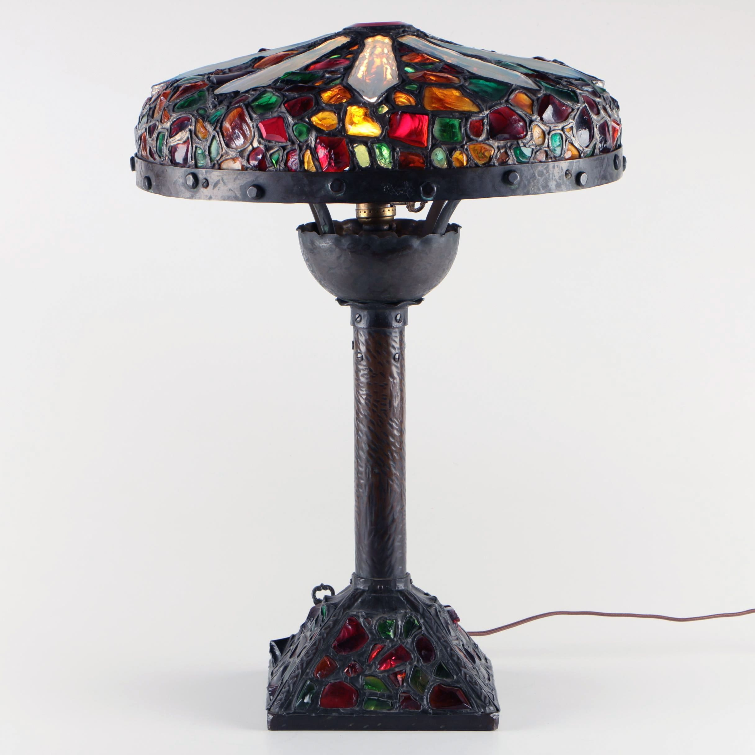 Austrian Bronze and Chunk Jewel Glass Table Lamp, Early 20th Century