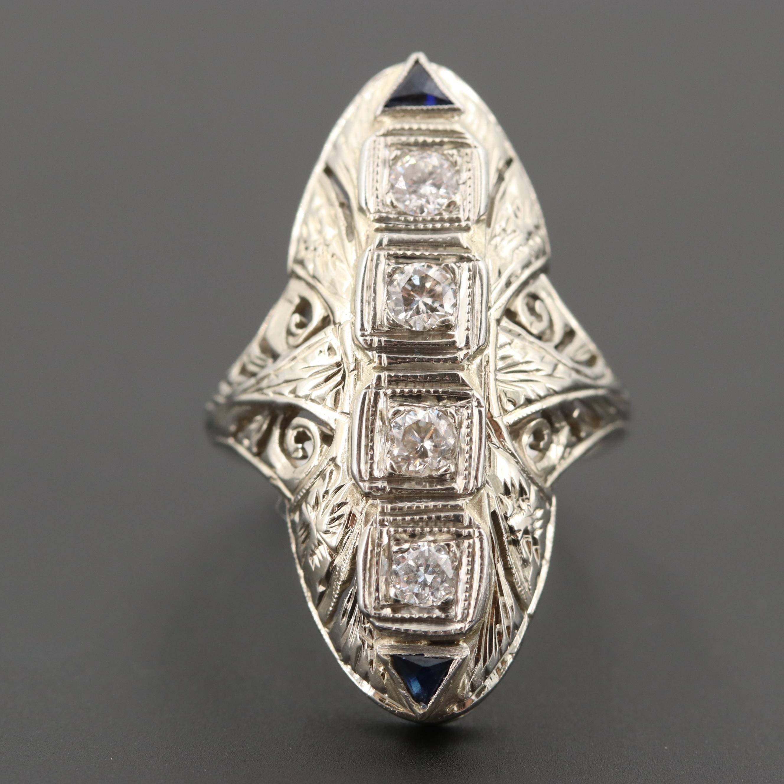 Art Deco 14K White Gold Diamond and Synthetic Sapphire Scrolled Openwork Ring